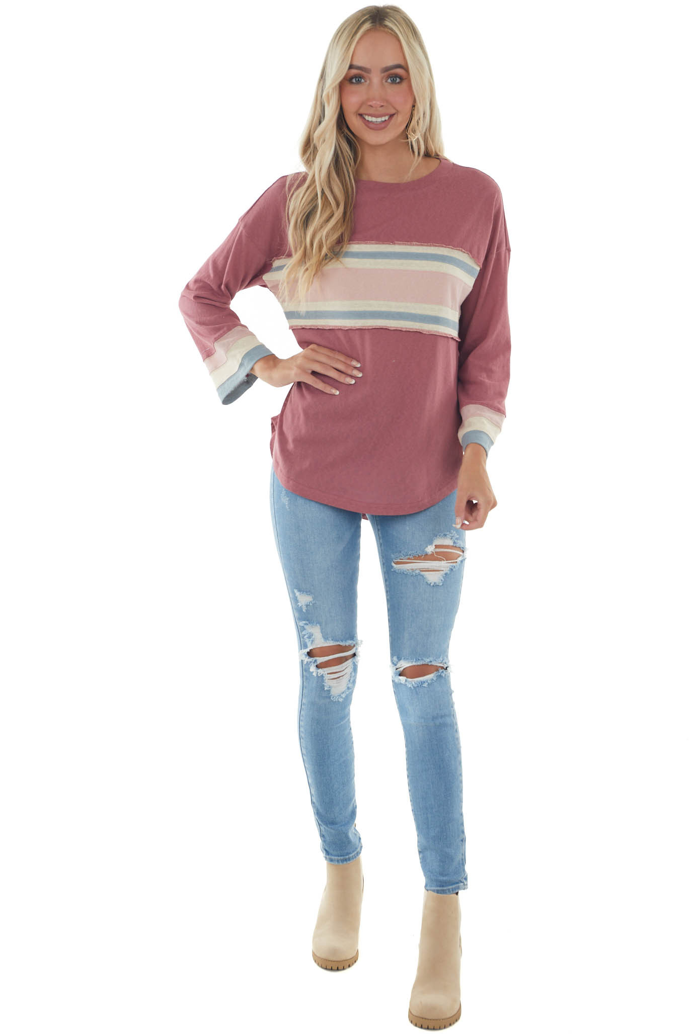 Hibiscus Stripe Contrast Long Sleeve Knit Top