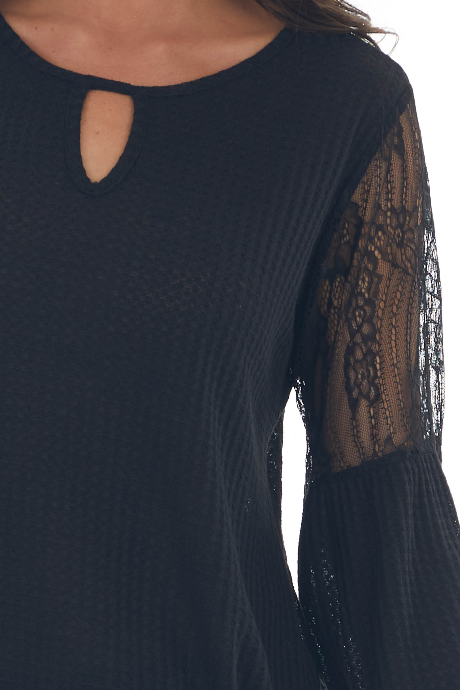 Black Sheer Lace Sleeve Contrast Knit Top
