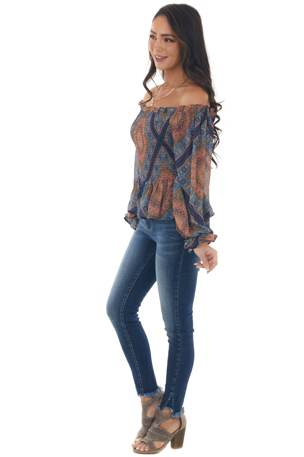 Navy Blue and Straw Abstract Print Smocked Top