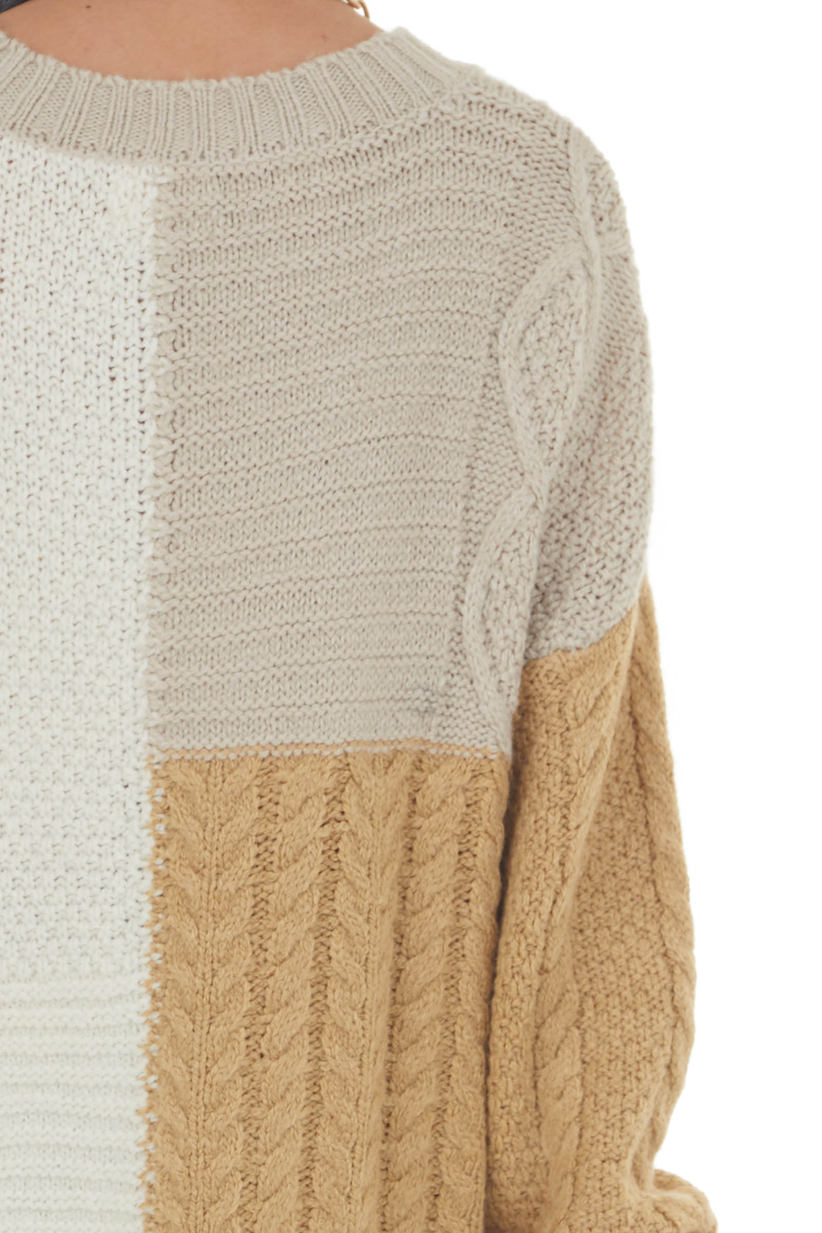 Ivory Colorblock Loose Cozy Cable Knit Sweater