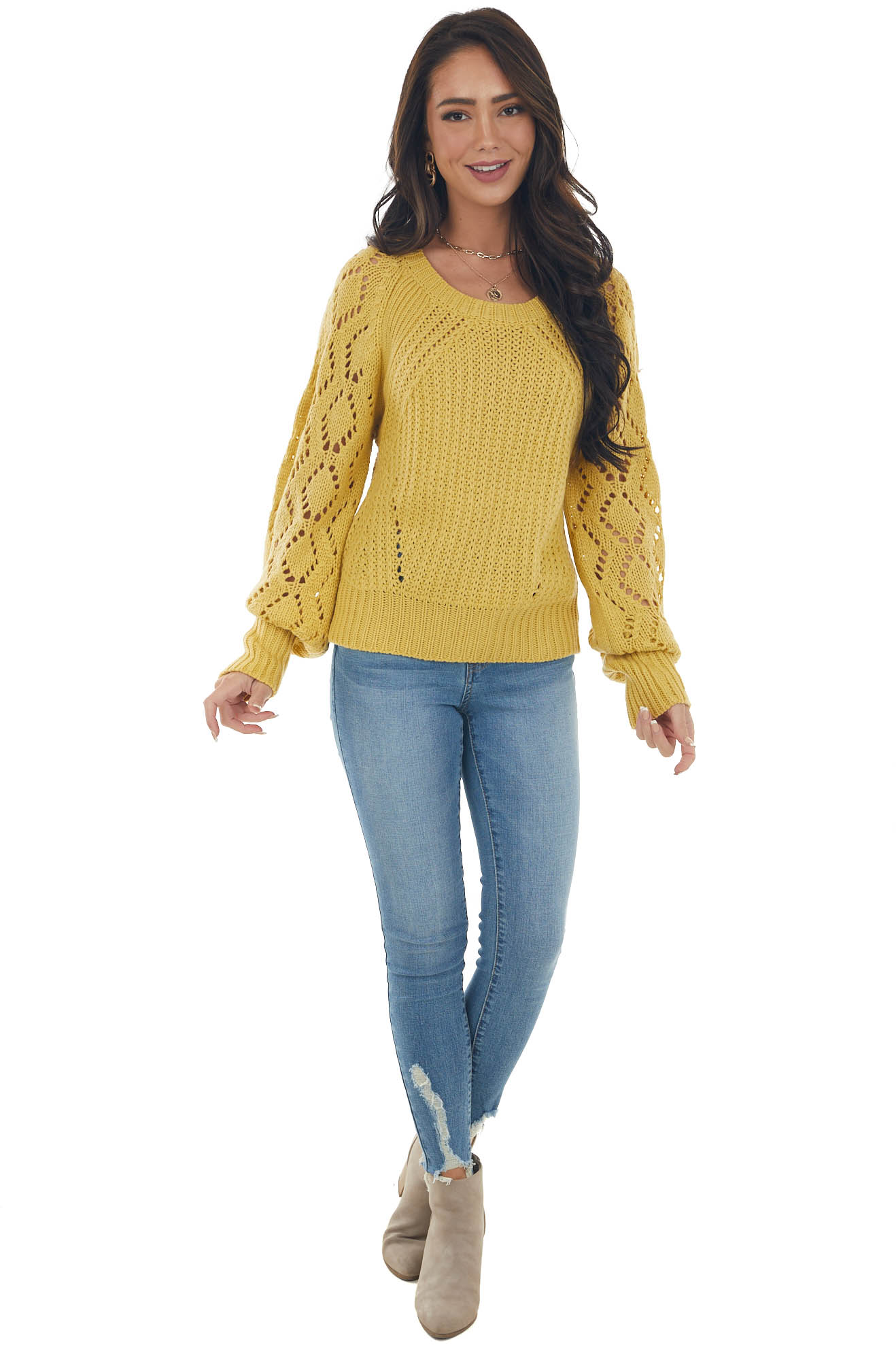 Pale Mustard Pointelle Thick Knit Sweater