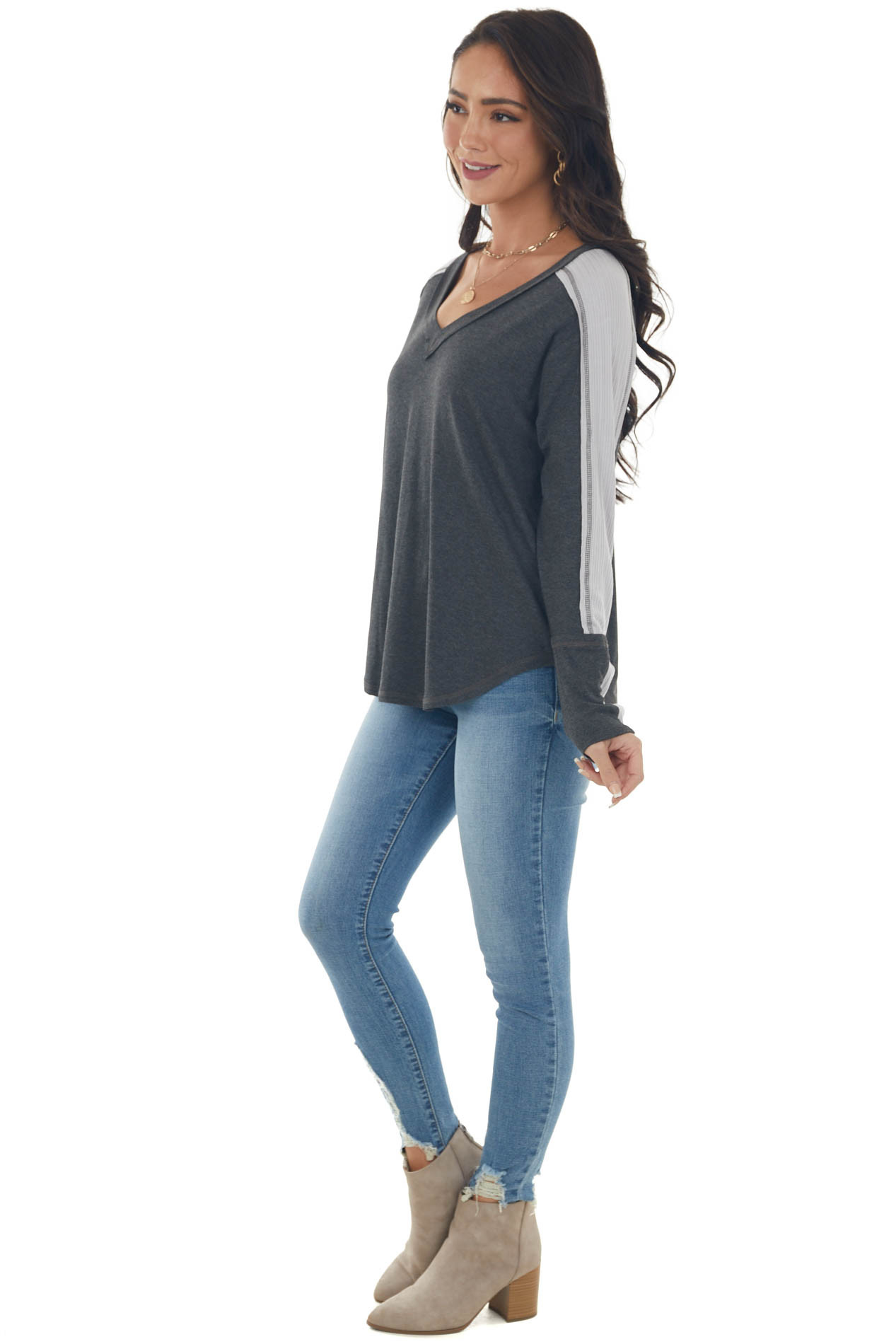 Charcoal V Neck Long Sleeve Exposed Seam Top