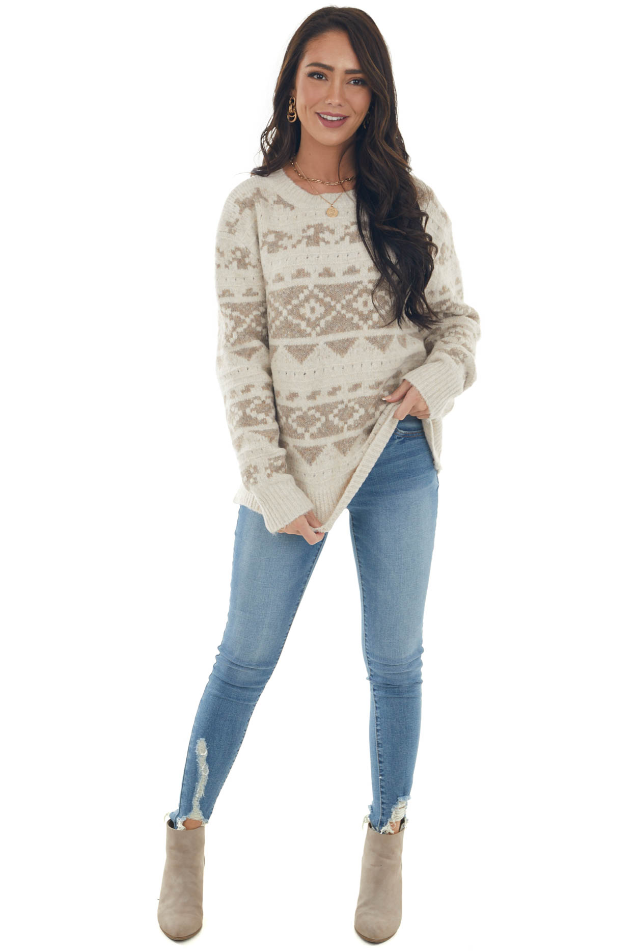 Champagne Printed Soft Brushed Knit Sweater