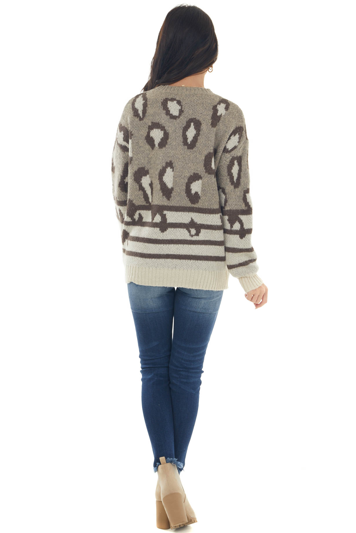 Taupe Leopard Print Striped Soft Knit Sweater