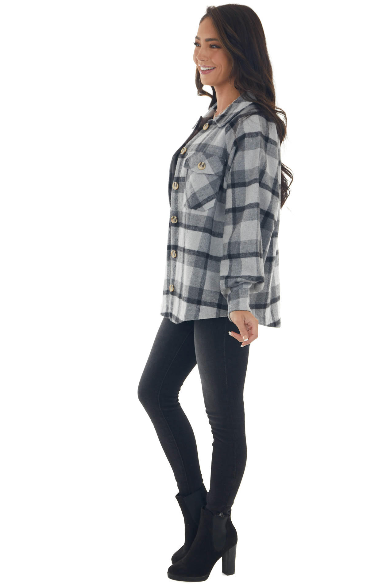 Dove Grey Plaid Button Down Loose Fit Shacket