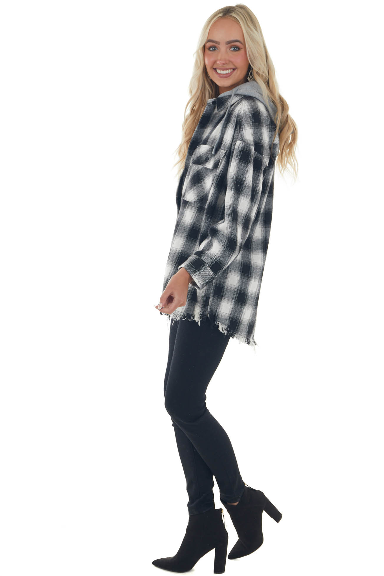 Off White Checkered Plaid Hooded Shacket