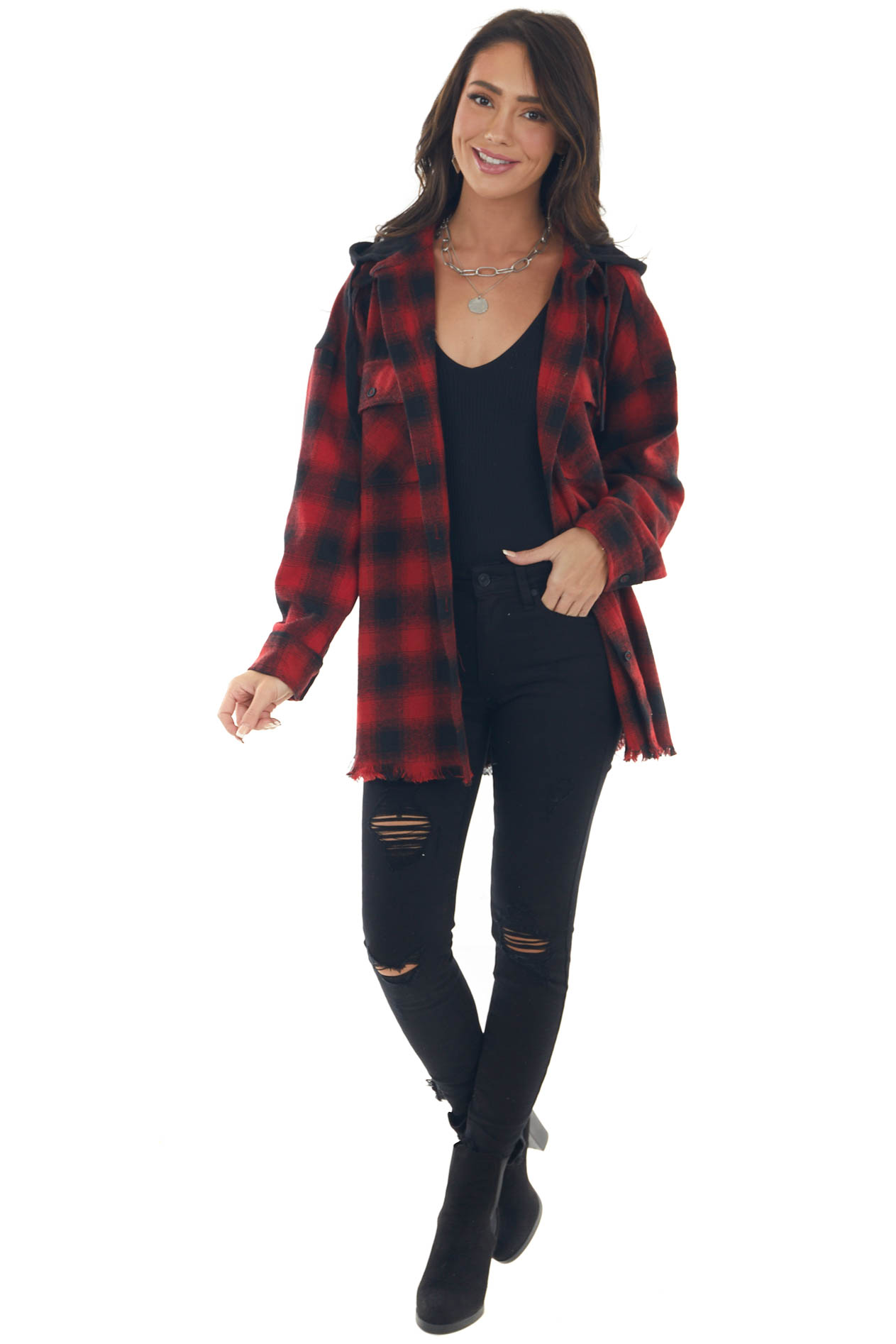 Ruby Red Checkered Plaid Hooded Shacket