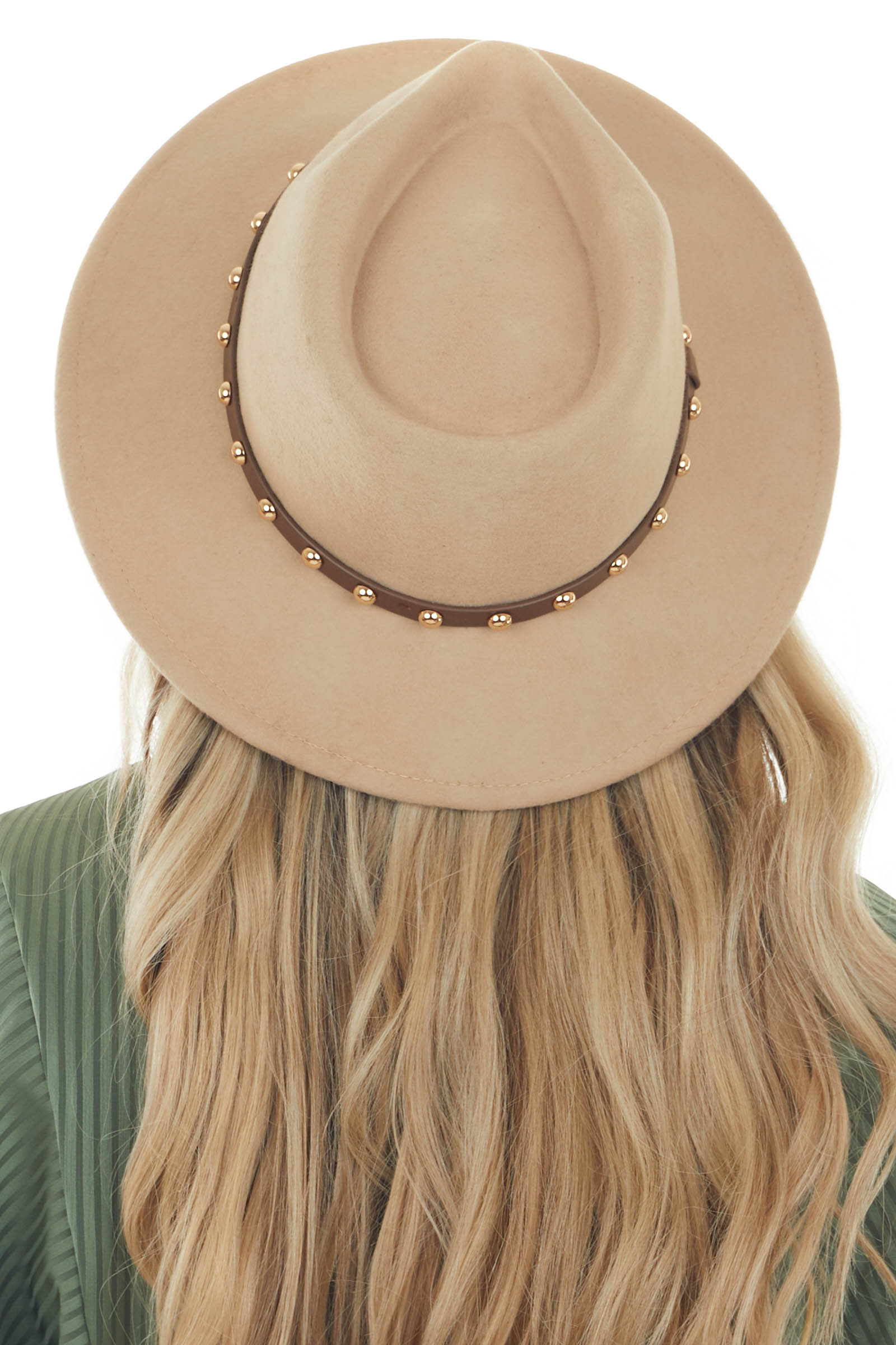 Nude Wool Gambler Hat with Studded Band