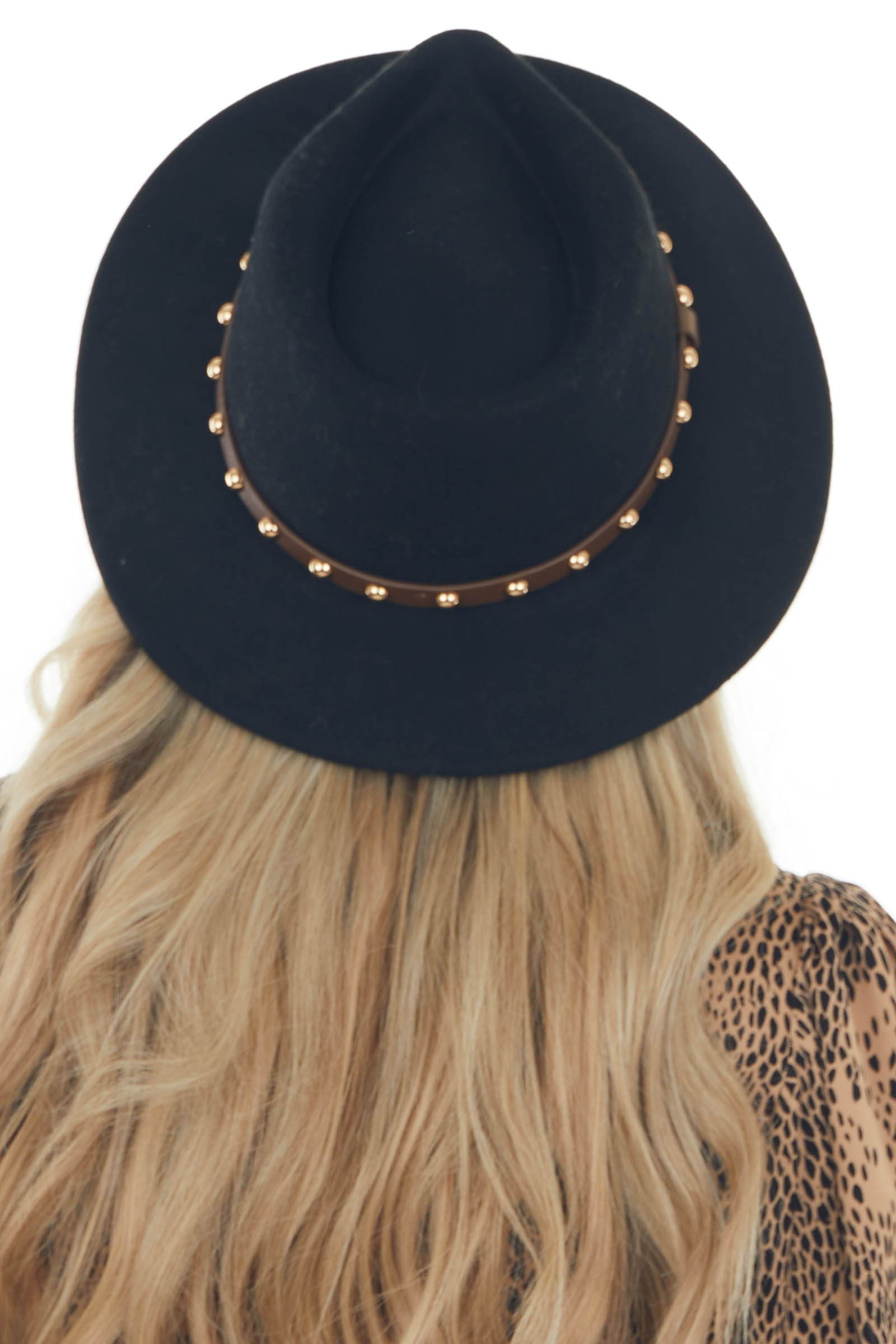 Black Wool Gambler Hat with Studded Band