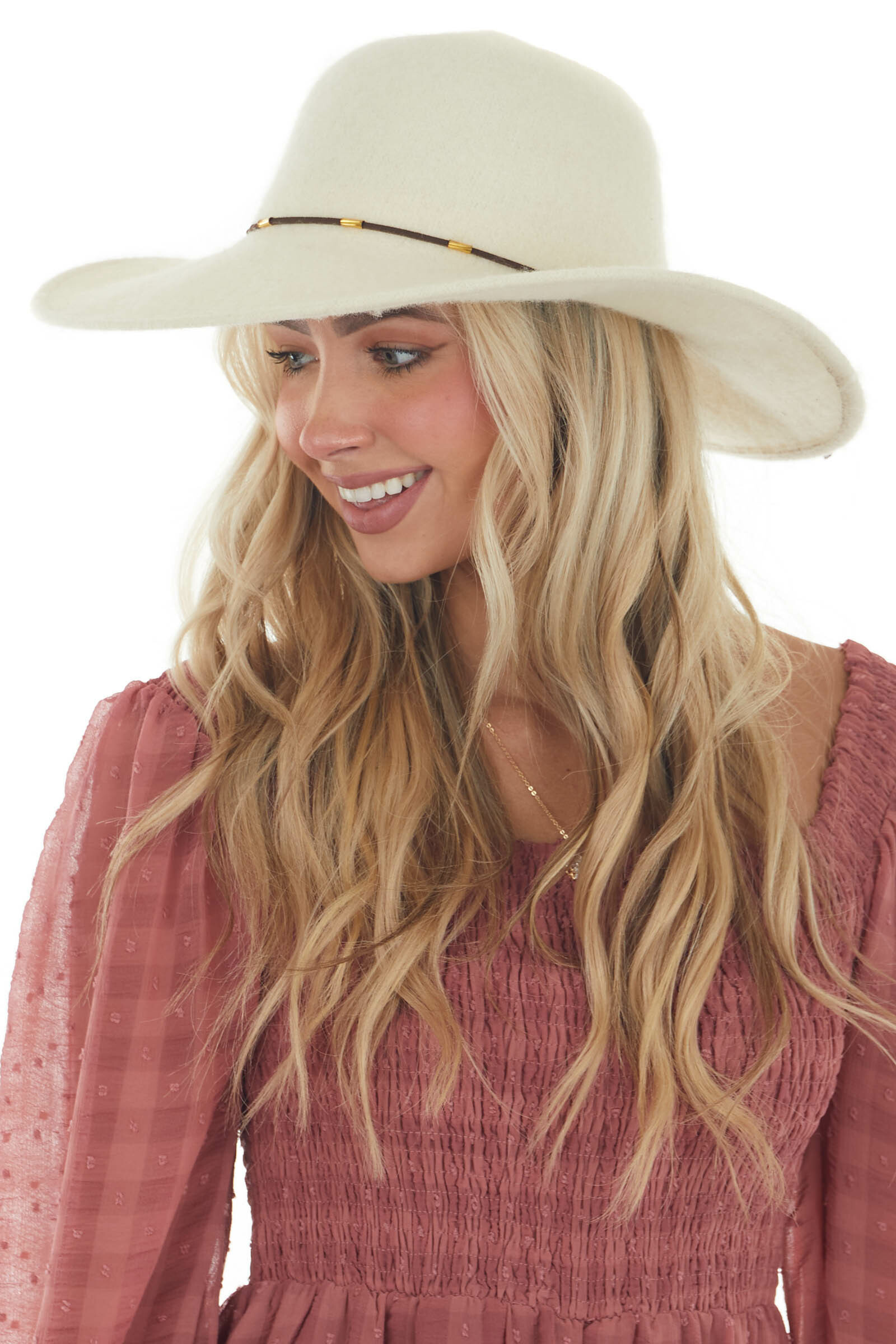 Vanilla Wool Wide Brim Hat with Leather Cord