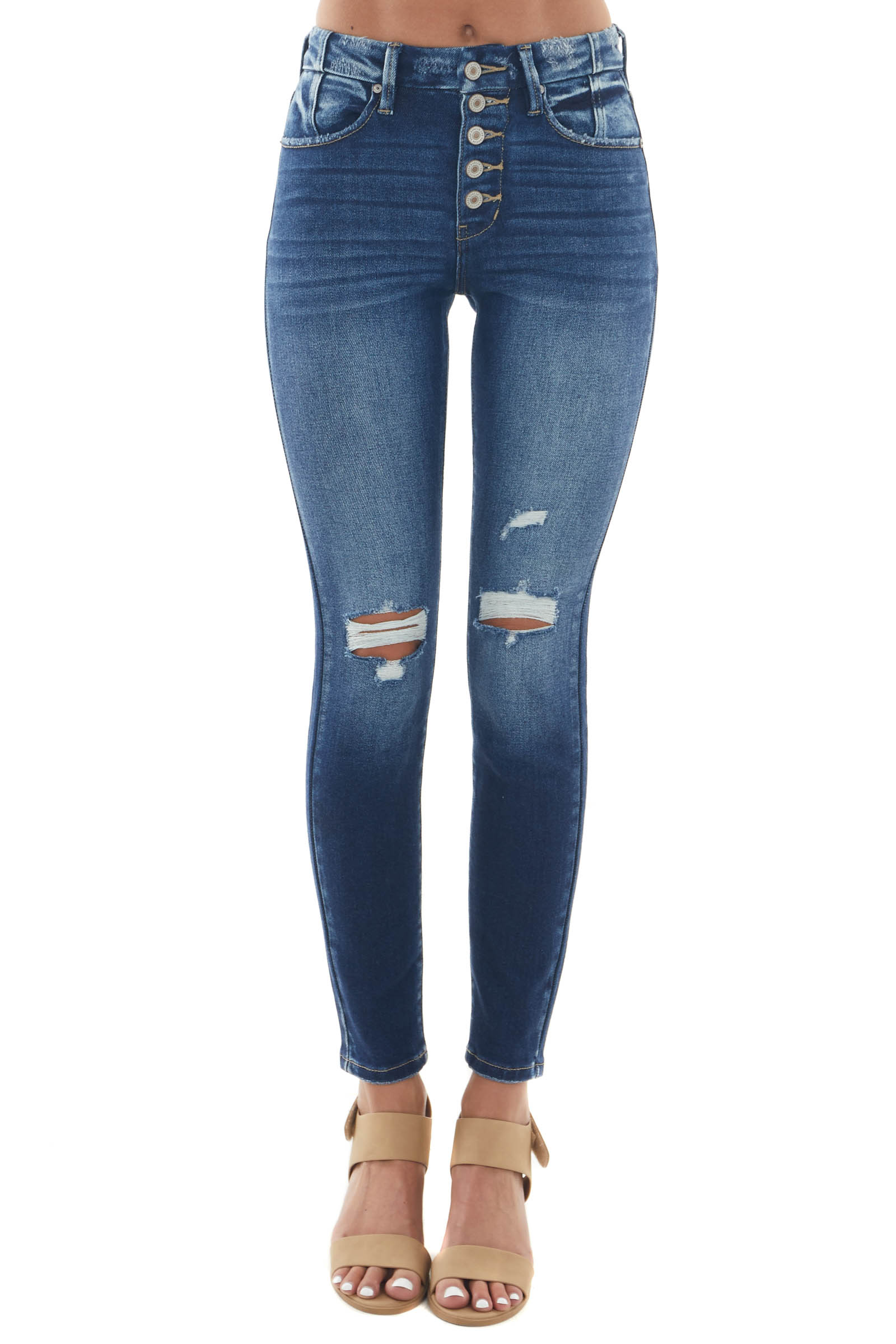 Dark Frayed High Rise Button Fly Skinny Jeans