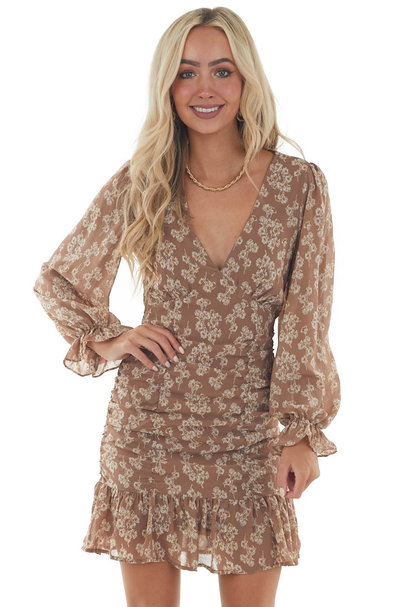 Coffee Floral Print Ruched Front Short Dress