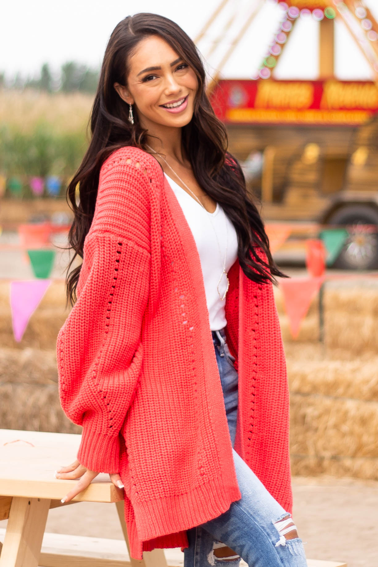 Neon Coral Side Pocket Pointelle Cardigan