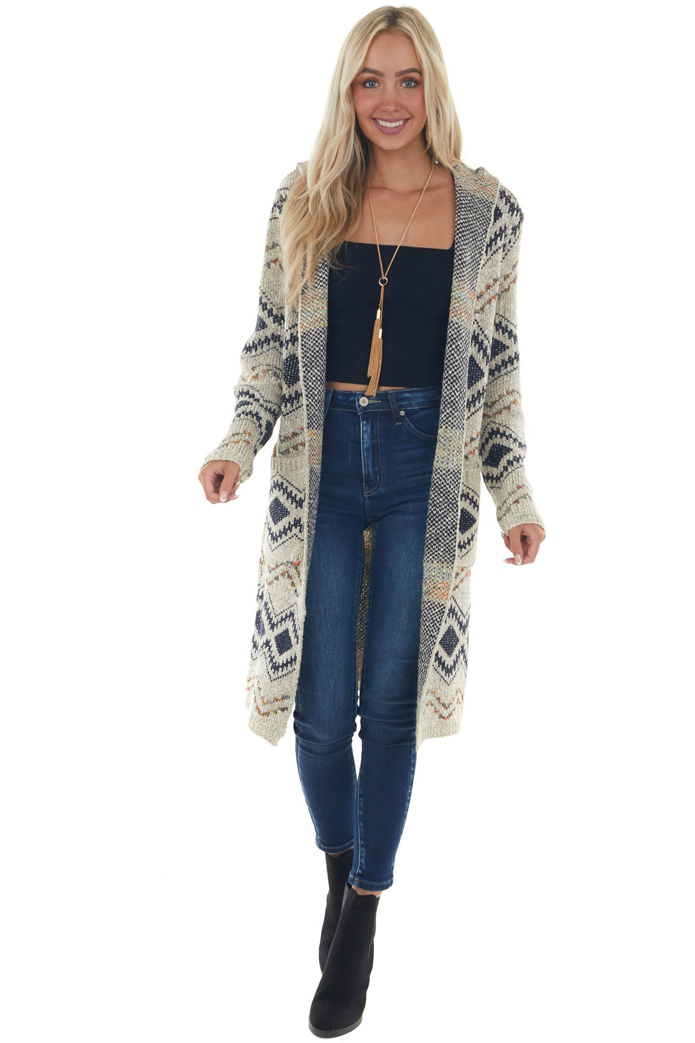 Coconut Aztec Print Cardigan with Side Pockets