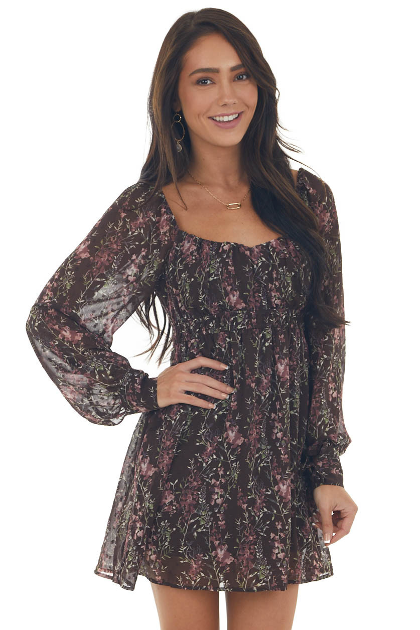 Chocolate Floral Long Sleeve Woven Romper
