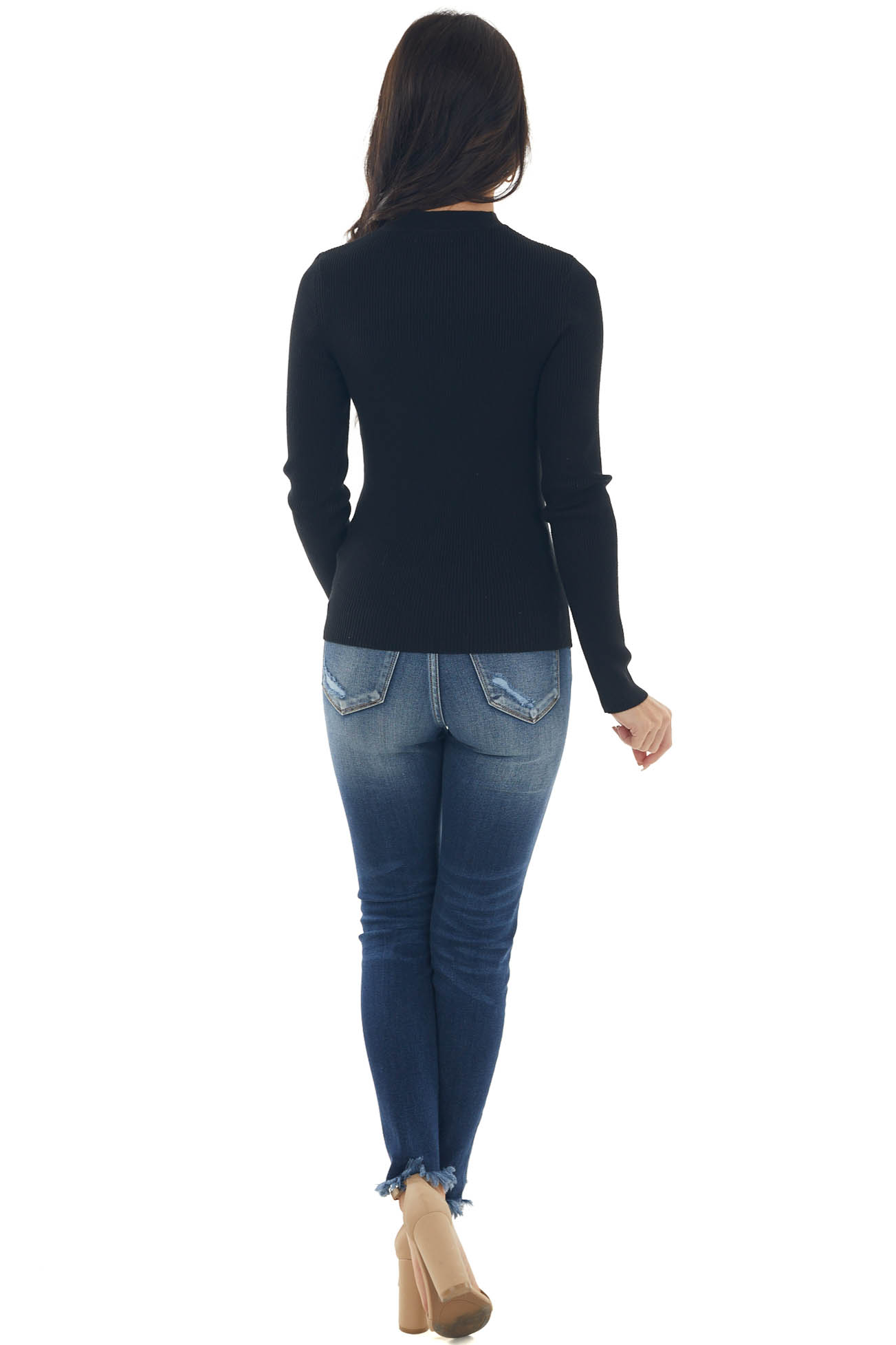 Black Chest Cut Out Ribbed Knit Fitted Top