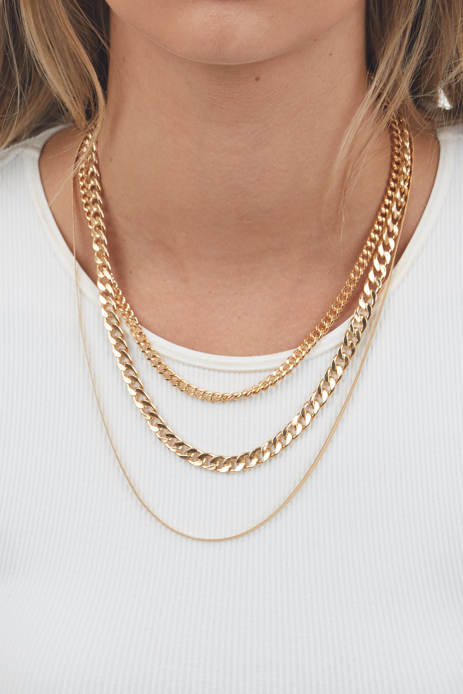 Gold Layered Flat Link Chain Necklace
