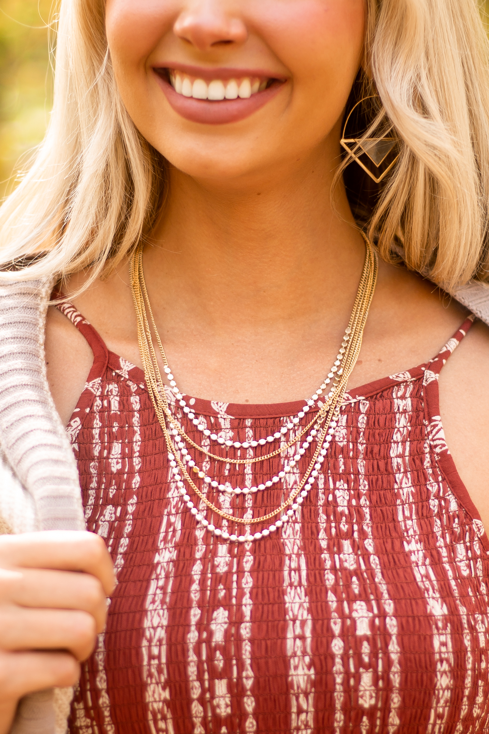 Gold Layered Beaded Chain Necklace