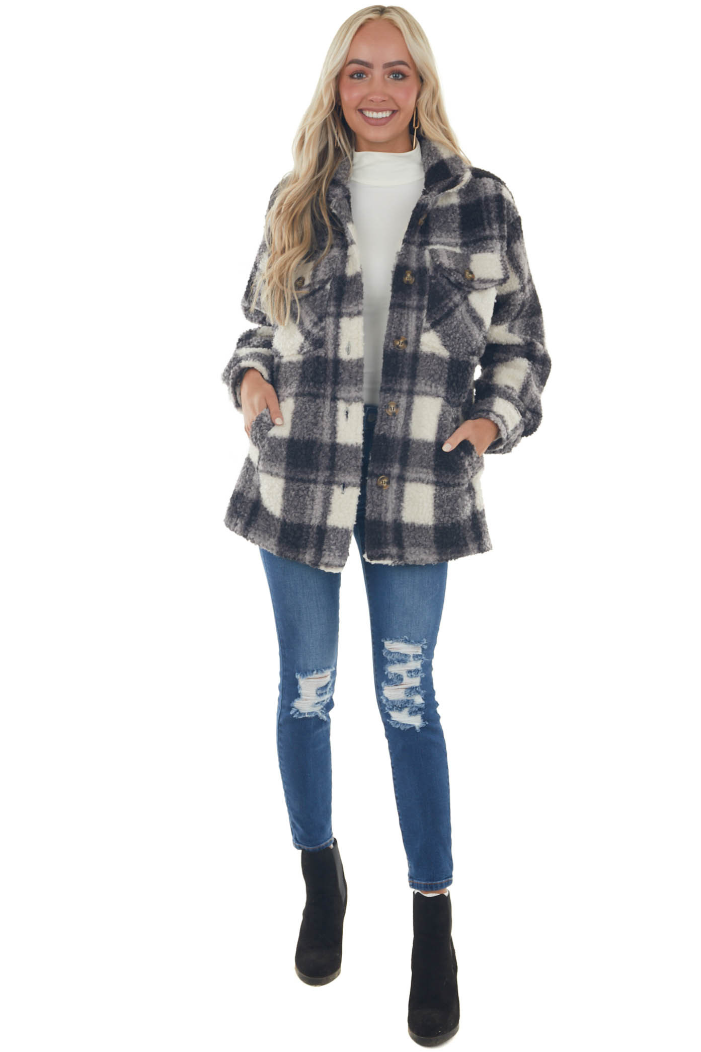Ivory and Black Plaid Button Up Sherpa Jacket
