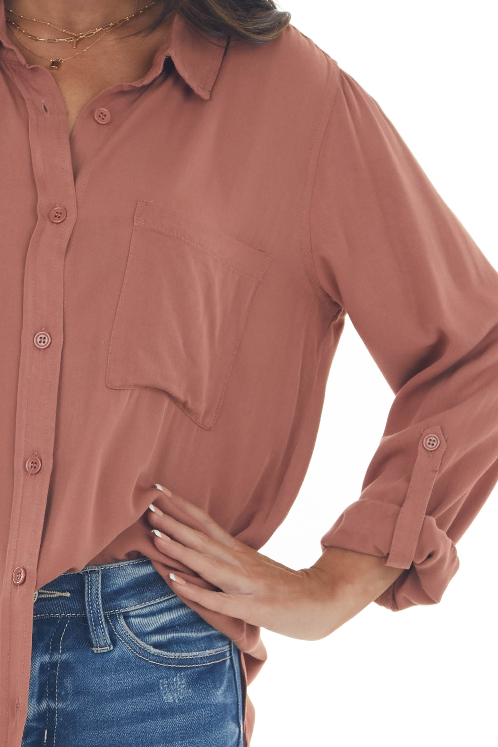Ginger Button Down Chest Pocket Collared Shirt