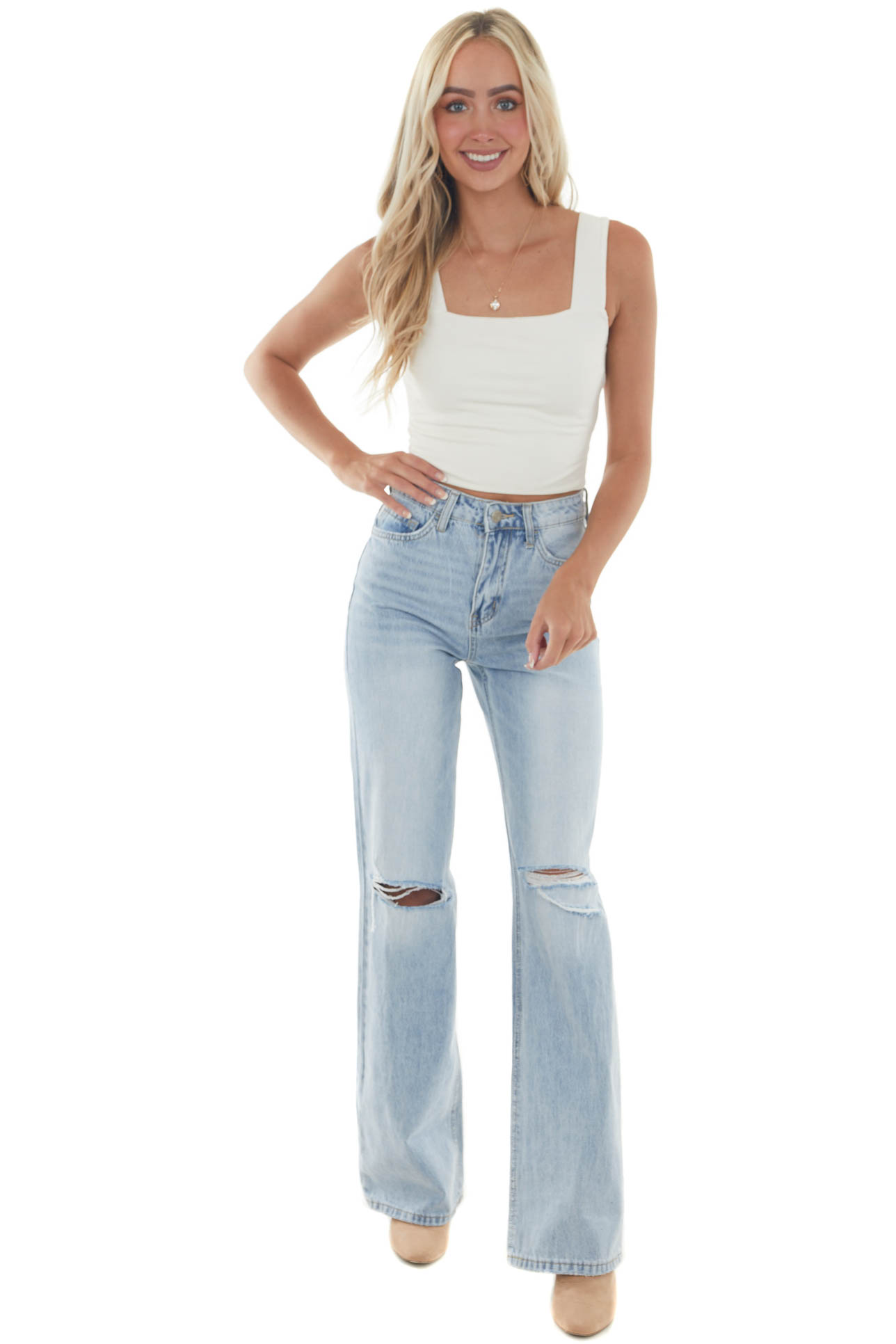 Light Wash High Rise Distressed Knee Mom Jeans