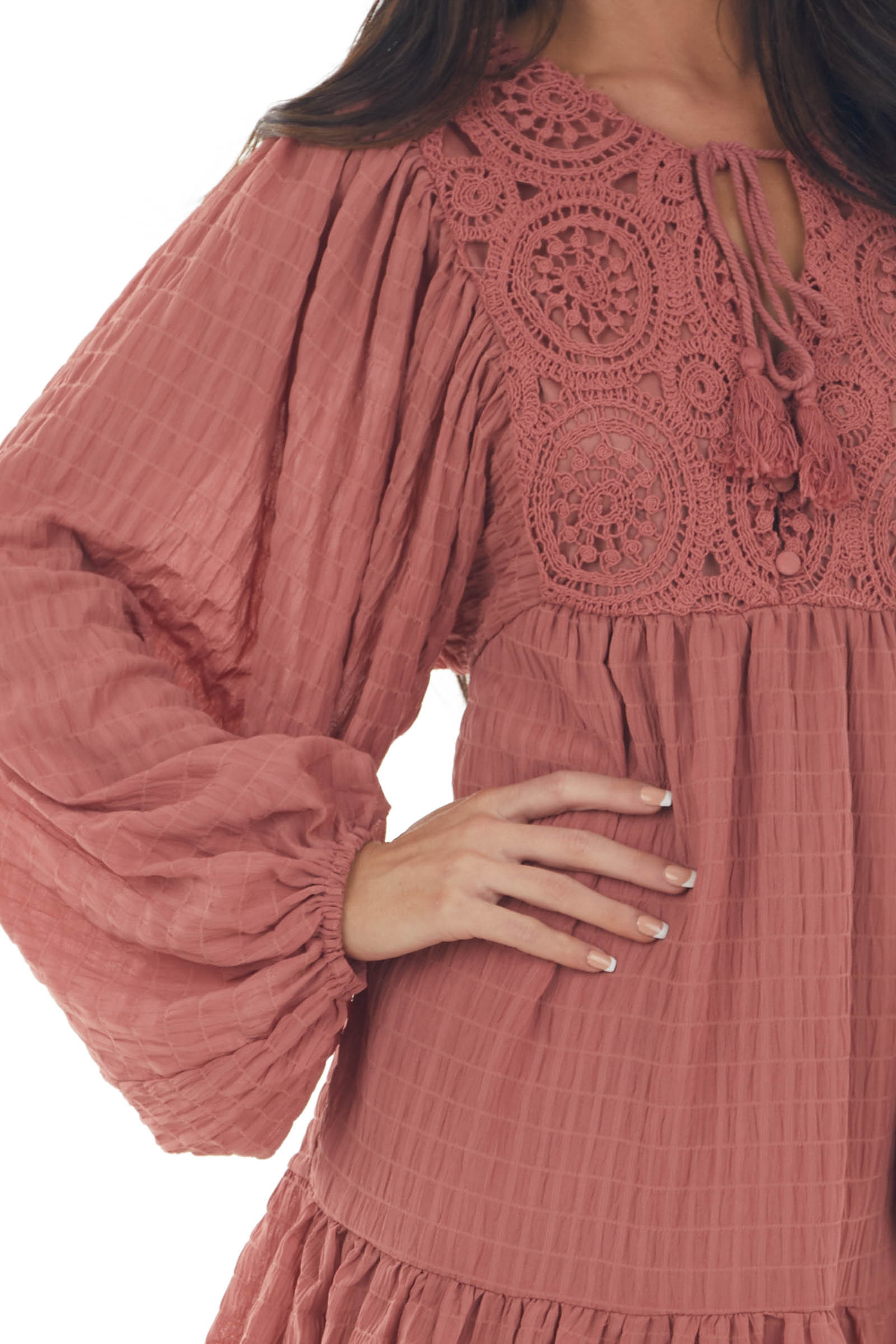 Vintage Rose Textured Puff Sleeve Lace Dress