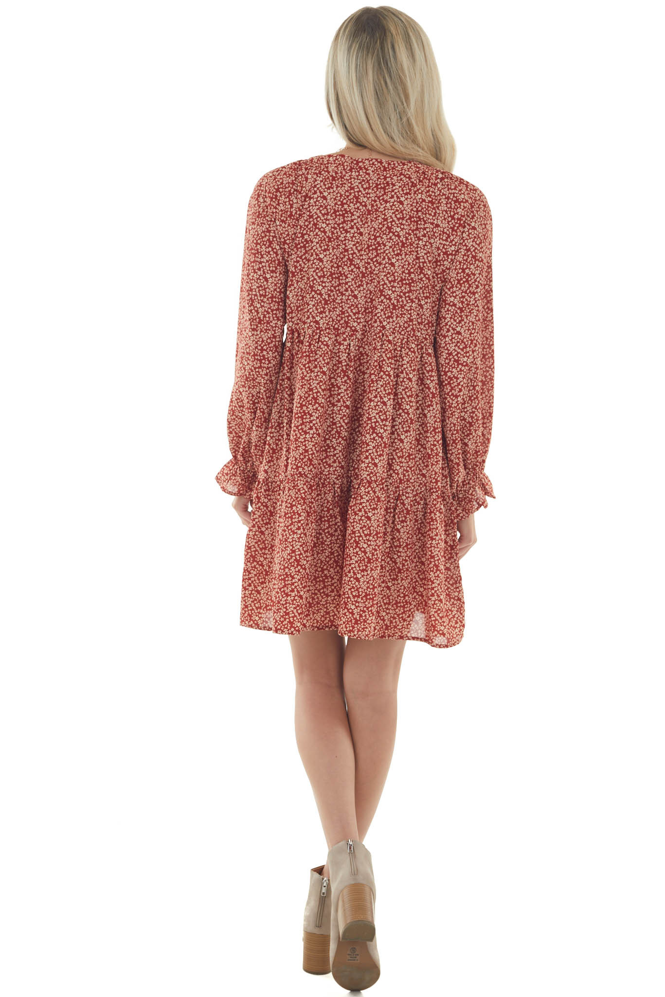 Rust Ditsy Floral Bubble Sleeve Peasant Dress