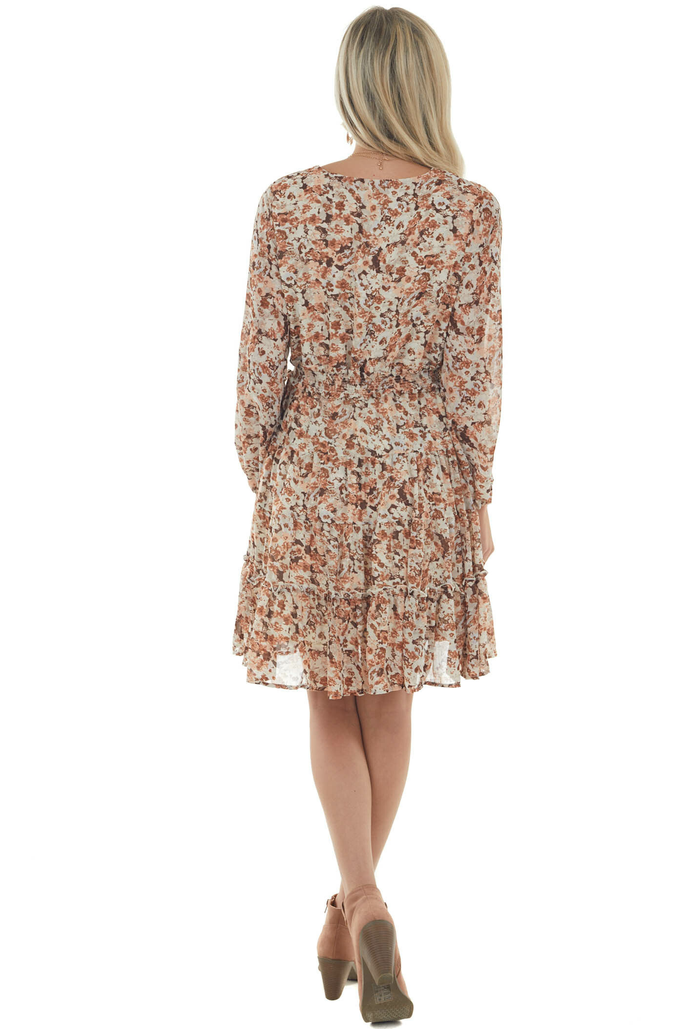 Coconut Floral Long Sleeve Tiered Short Dress