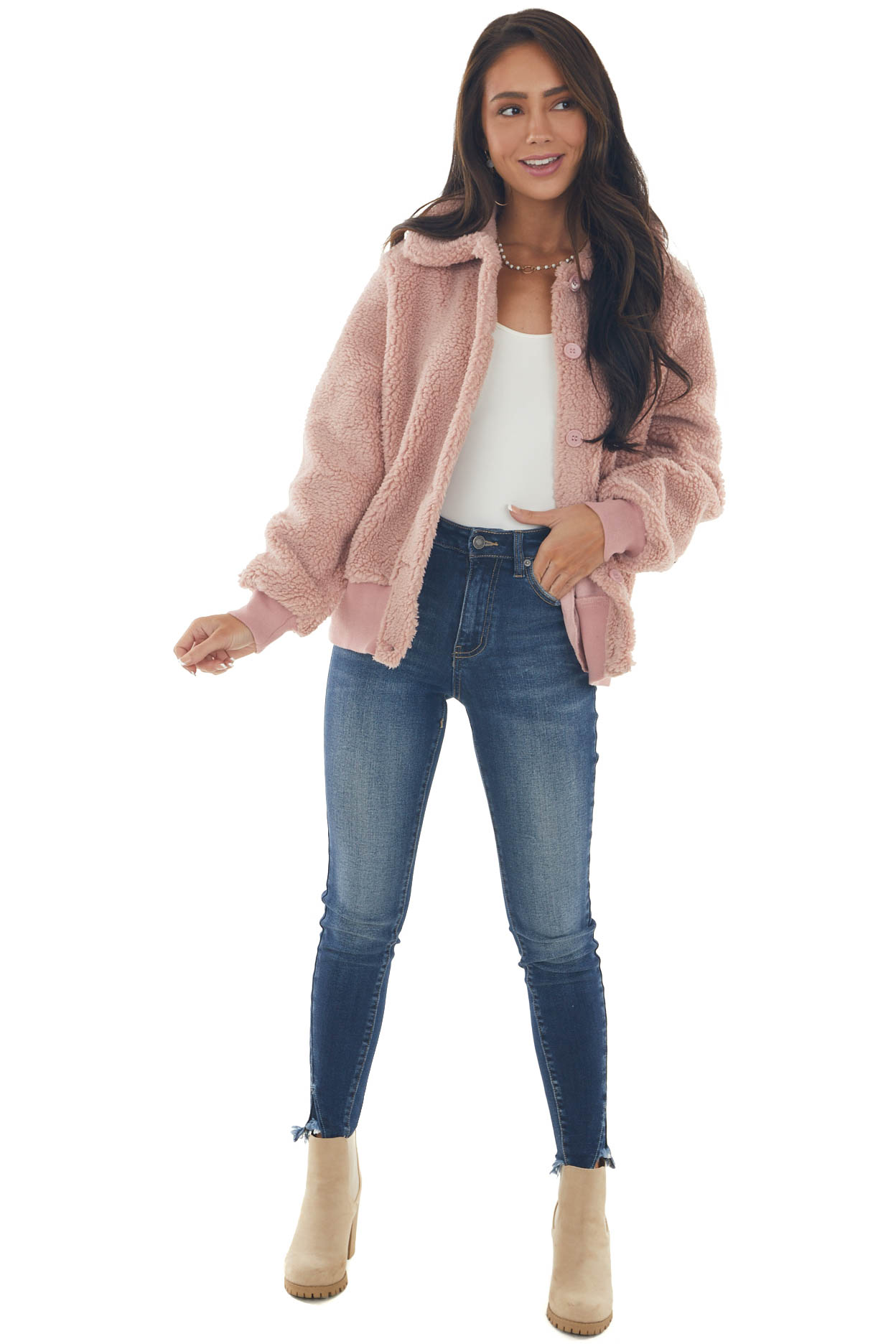 Tea Rose Button Up Collared Sherpa Jacket