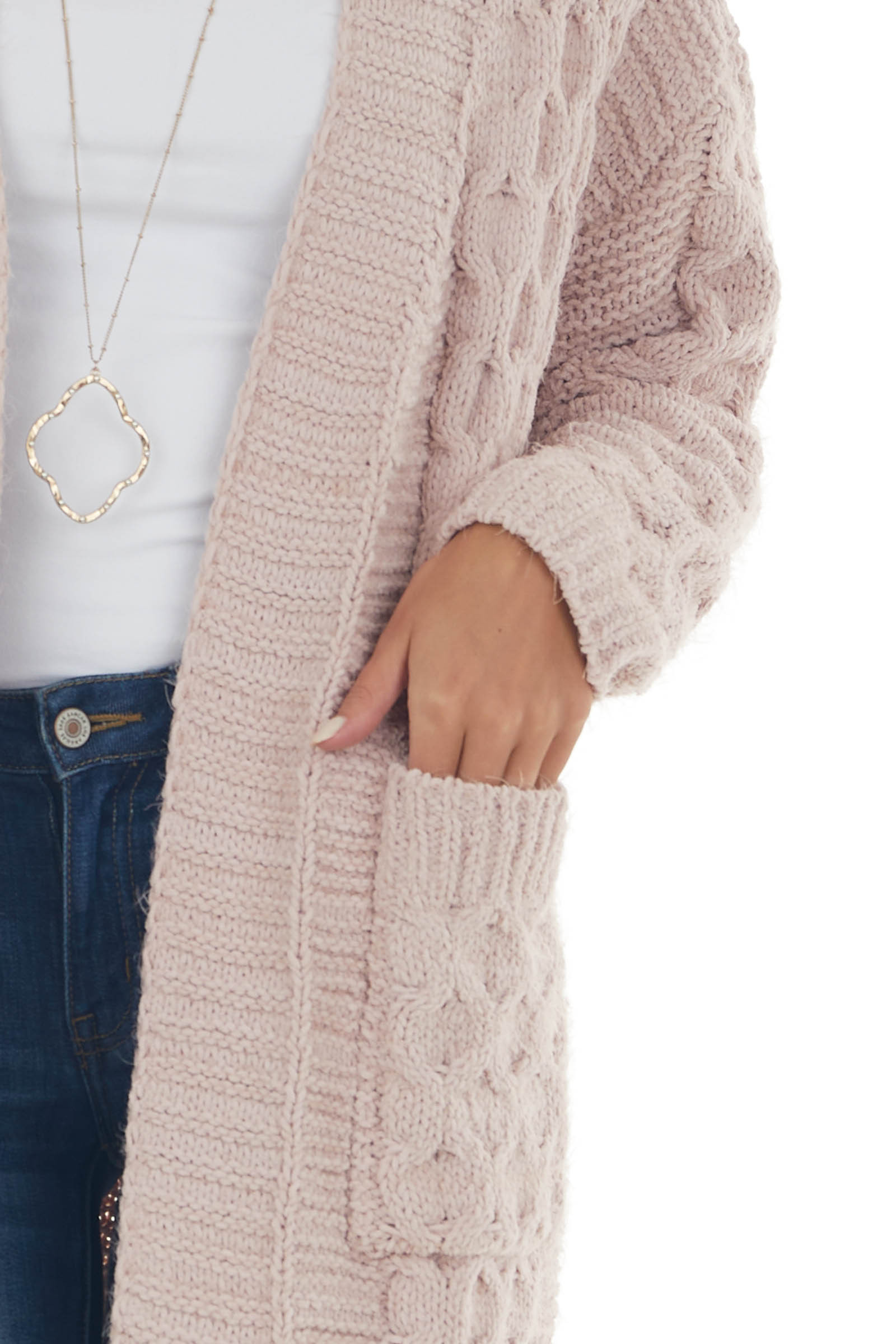 Tea Rose Soft Cable Knit Chenille Cardigan