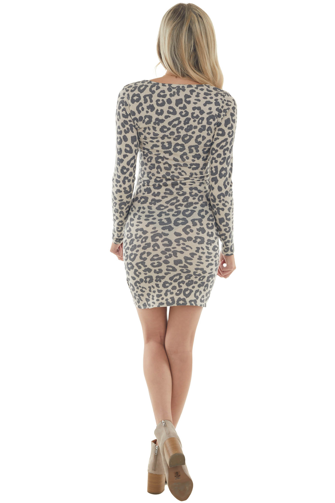 Beige Leopard Long Sleeve Bodycon Ruched Dress