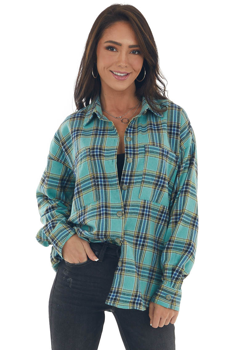 Mint Plaid Collared Chest Pocket Flannel