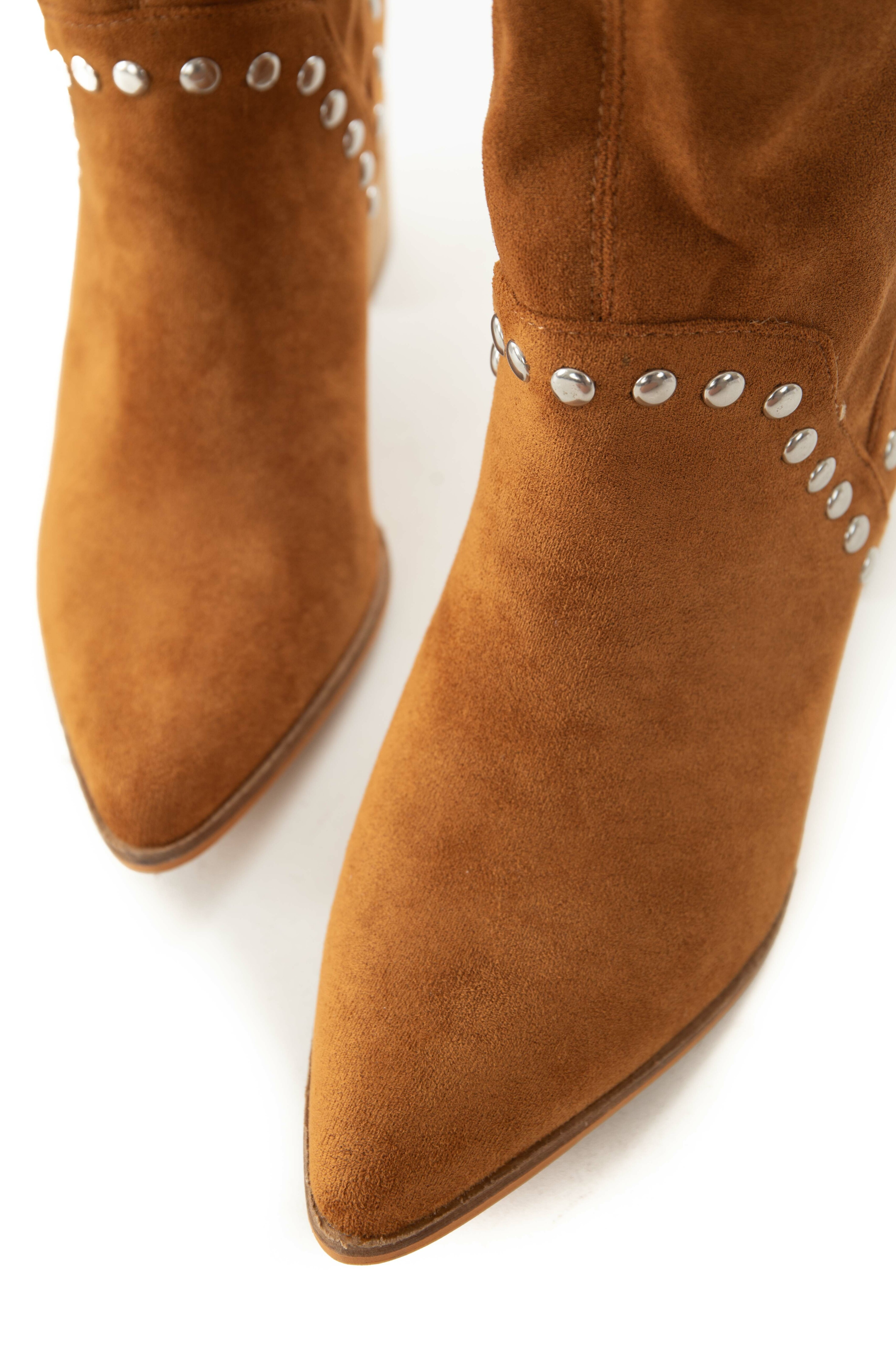 Caramel Suede Pointed Toe Studded Midi Booties