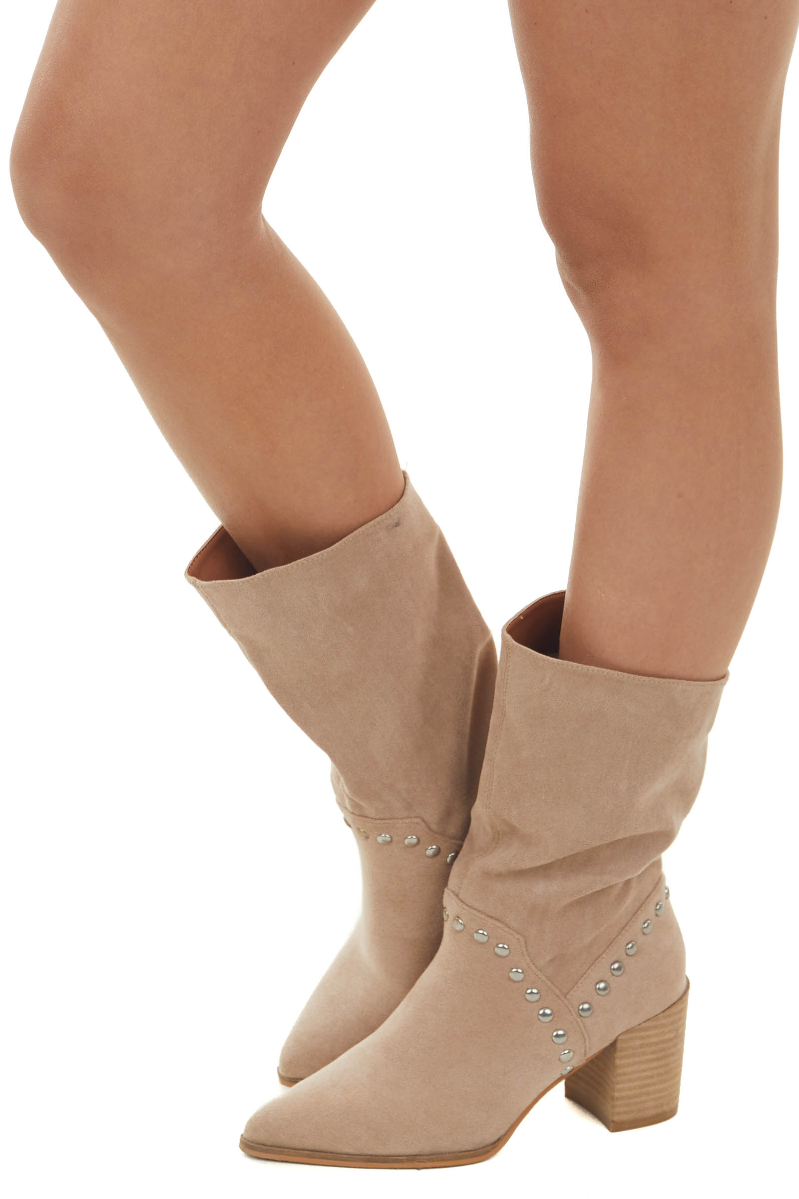 Latte Suede Pointed Toe Studded Midi Booties