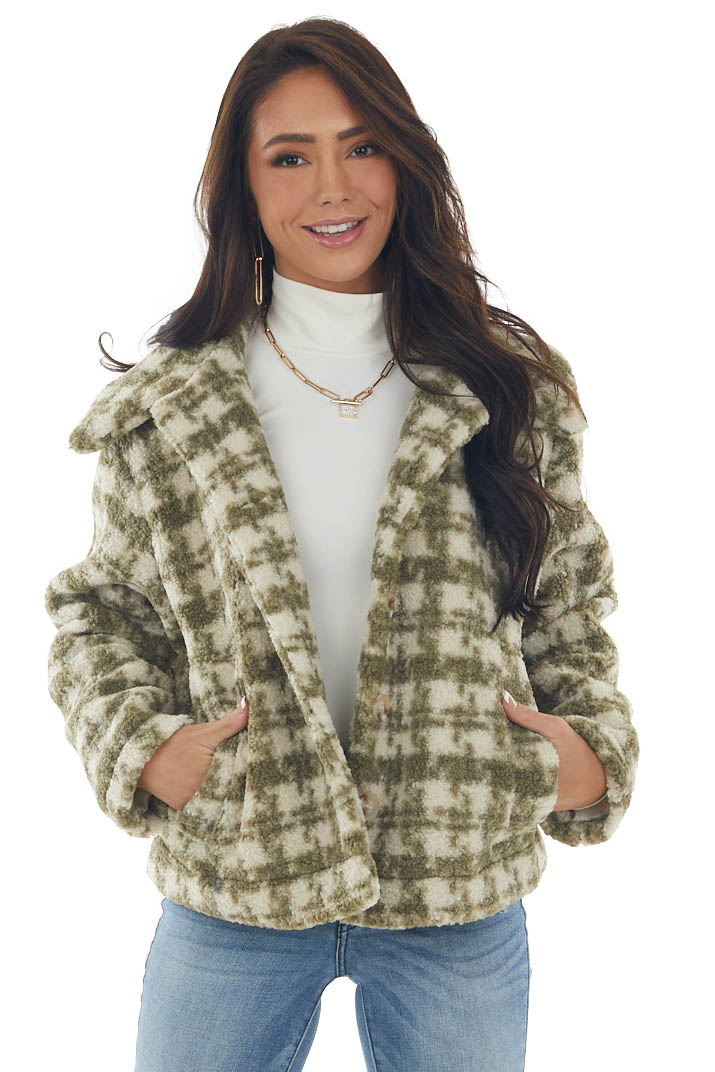Olive Houndstooth Print Collared Fuzzy Jacket