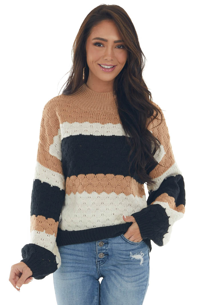 Black and Nude Striped Pointelle Knit Sweater