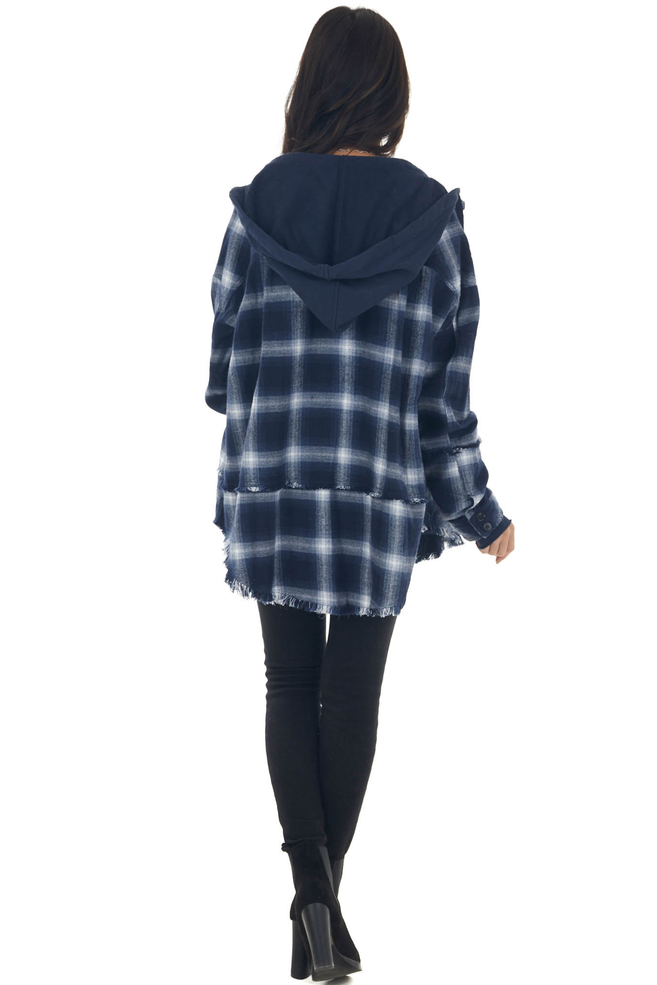 Navy Plaid Shirt Jacket with Distressed Detail