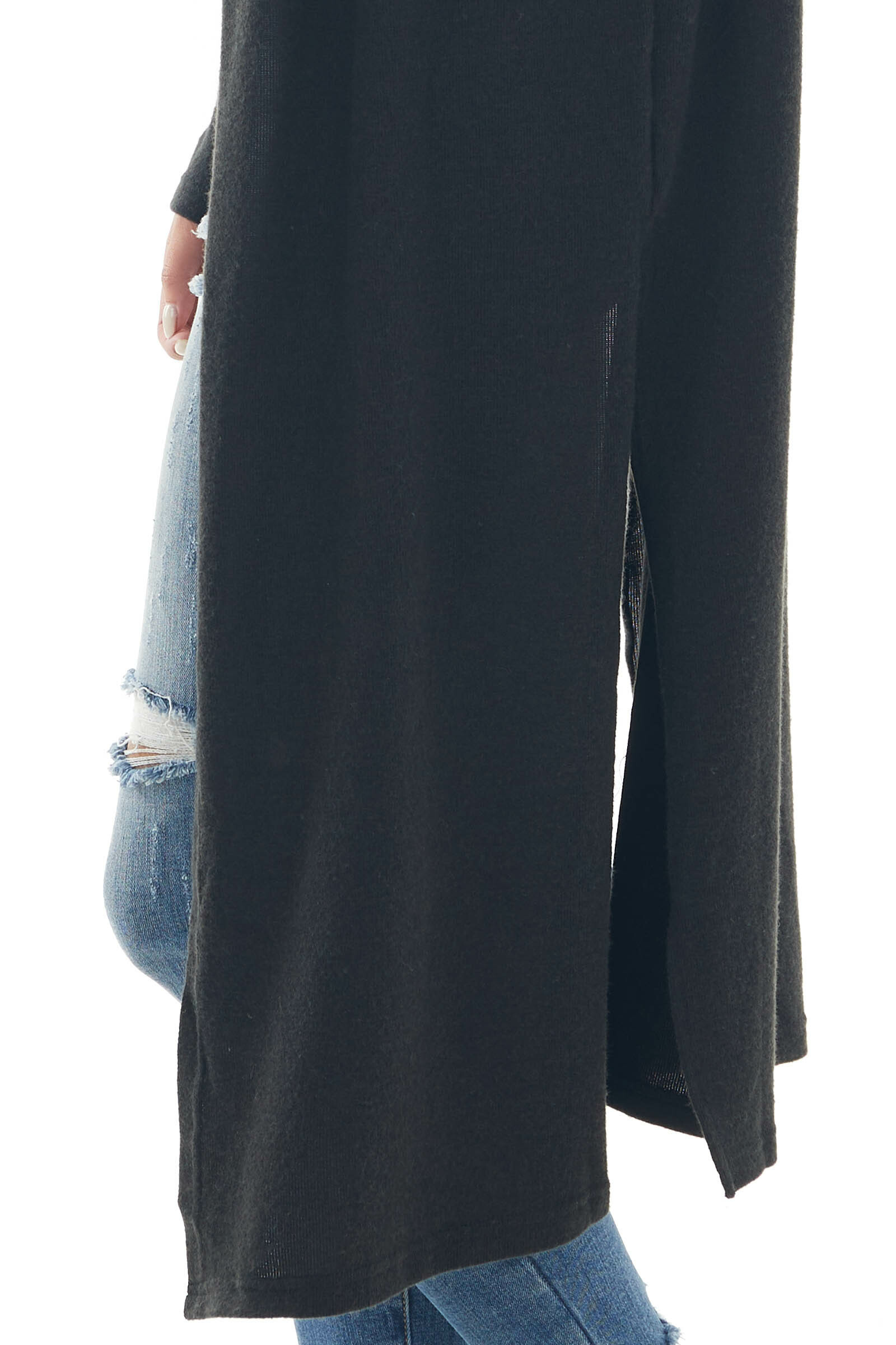Black Long Cardigan with Hood and Side Slits