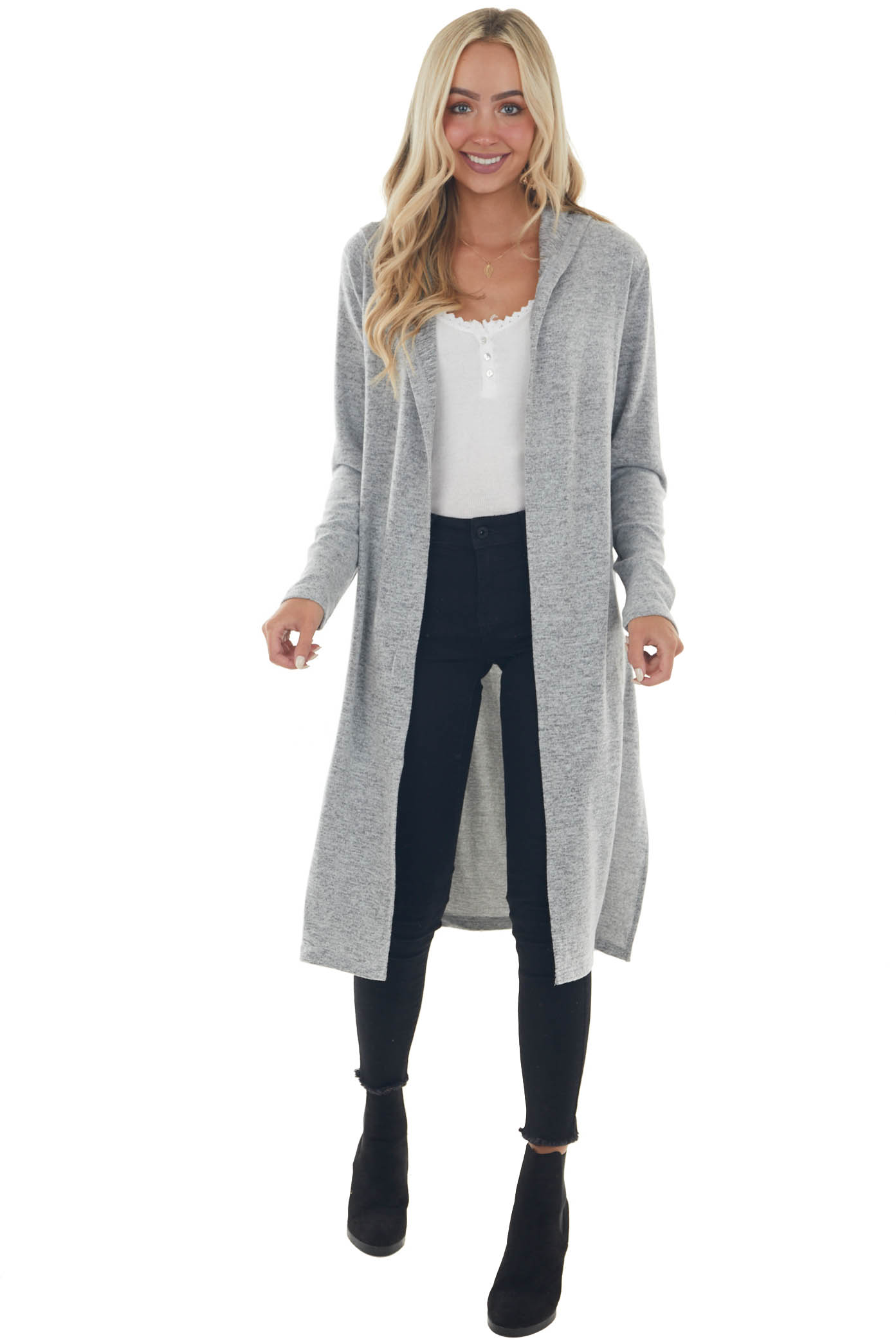 Dove Grey Long Cardigan with Hood and Side Slits