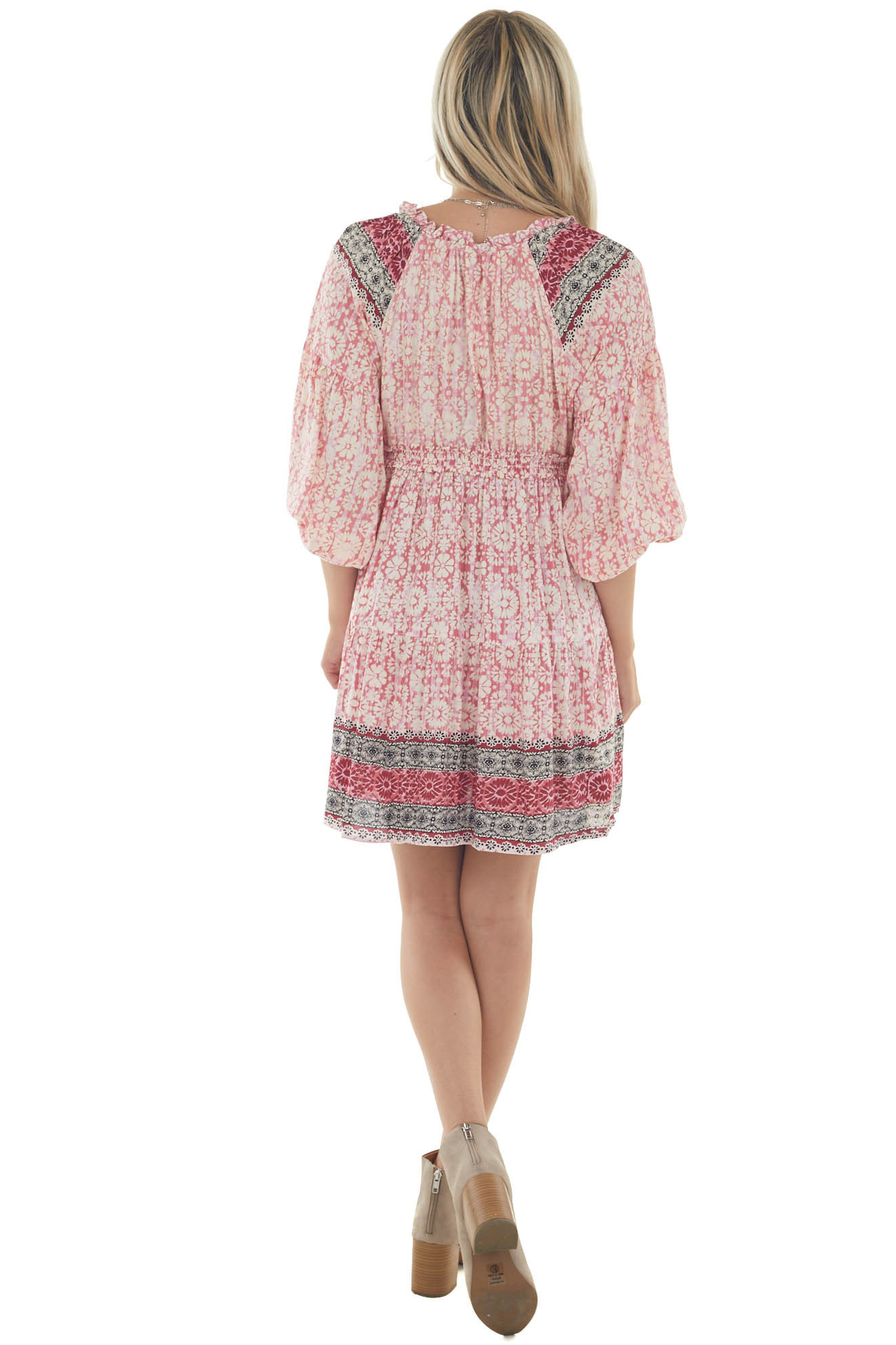 Punch Floral Print Smocked Woven Short Dress