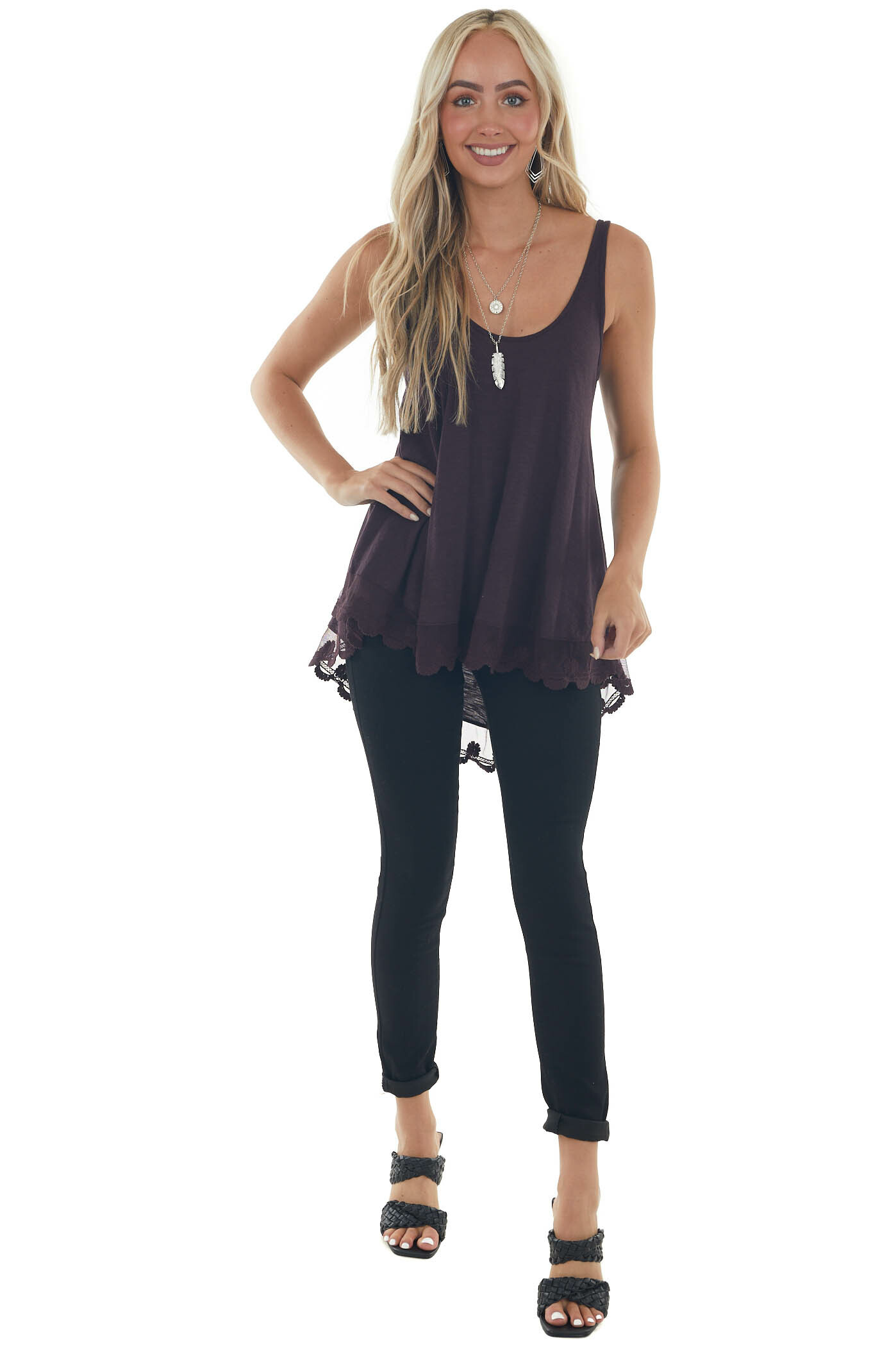 Eggplant Knit Tank Top with Scalloped Lace Hemline