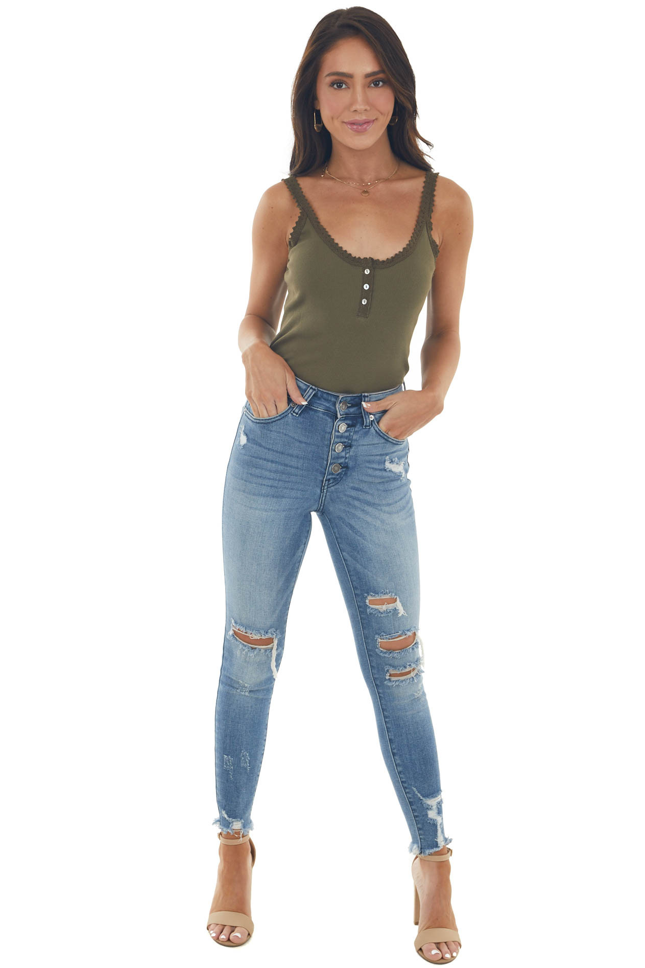 Olive Ribbed Knit Tank Top with Button and Lace Trim Details