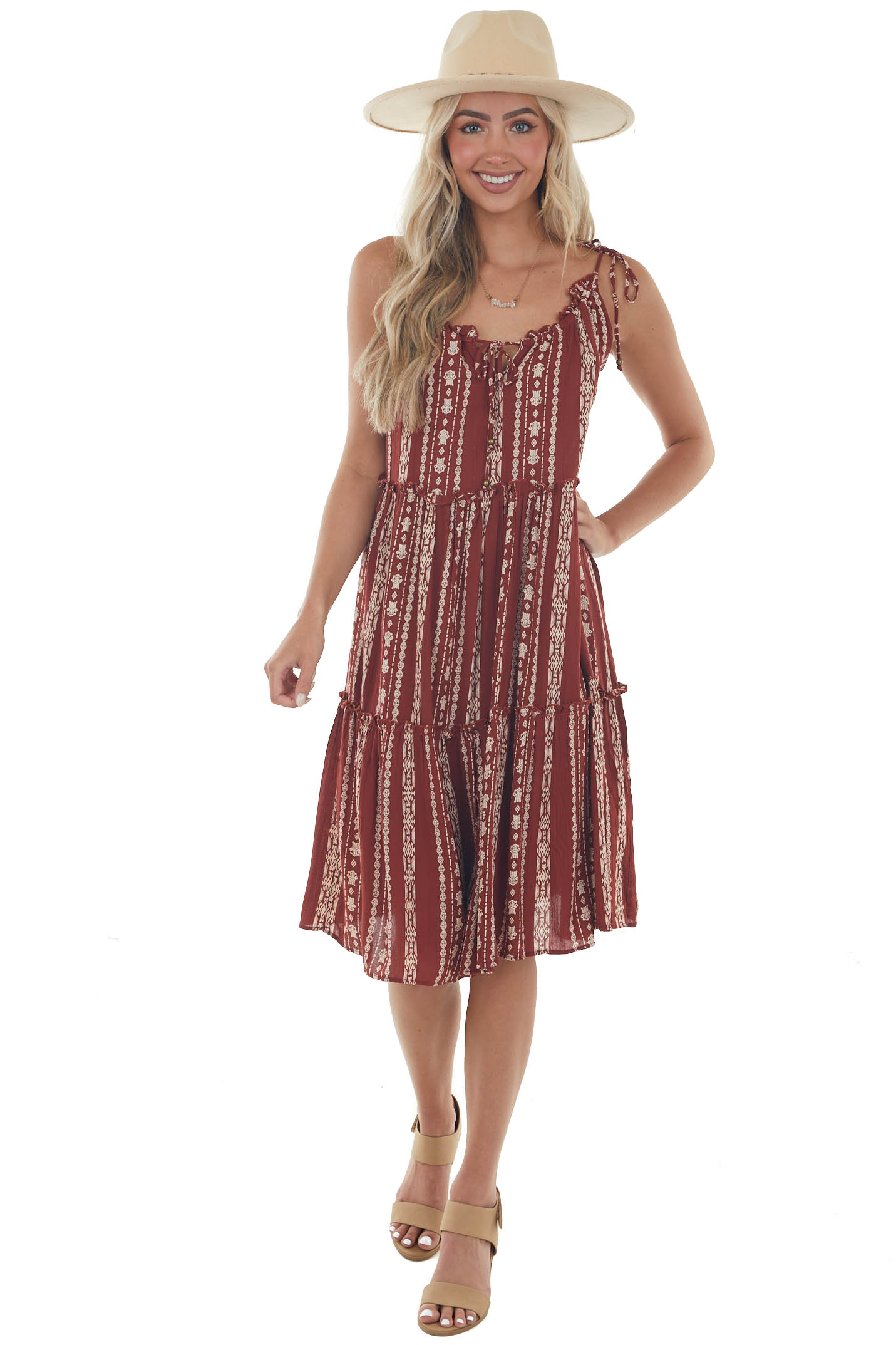 Rust Printed Woven Midi Dress with Tie Details