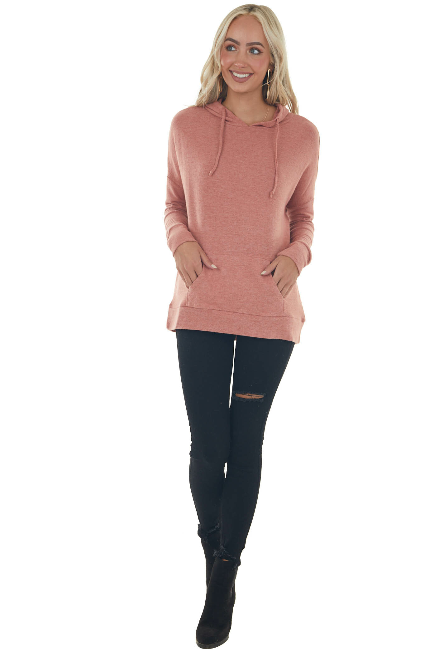 Heathered Coral Kangaroo Pouch Knit Hoodie