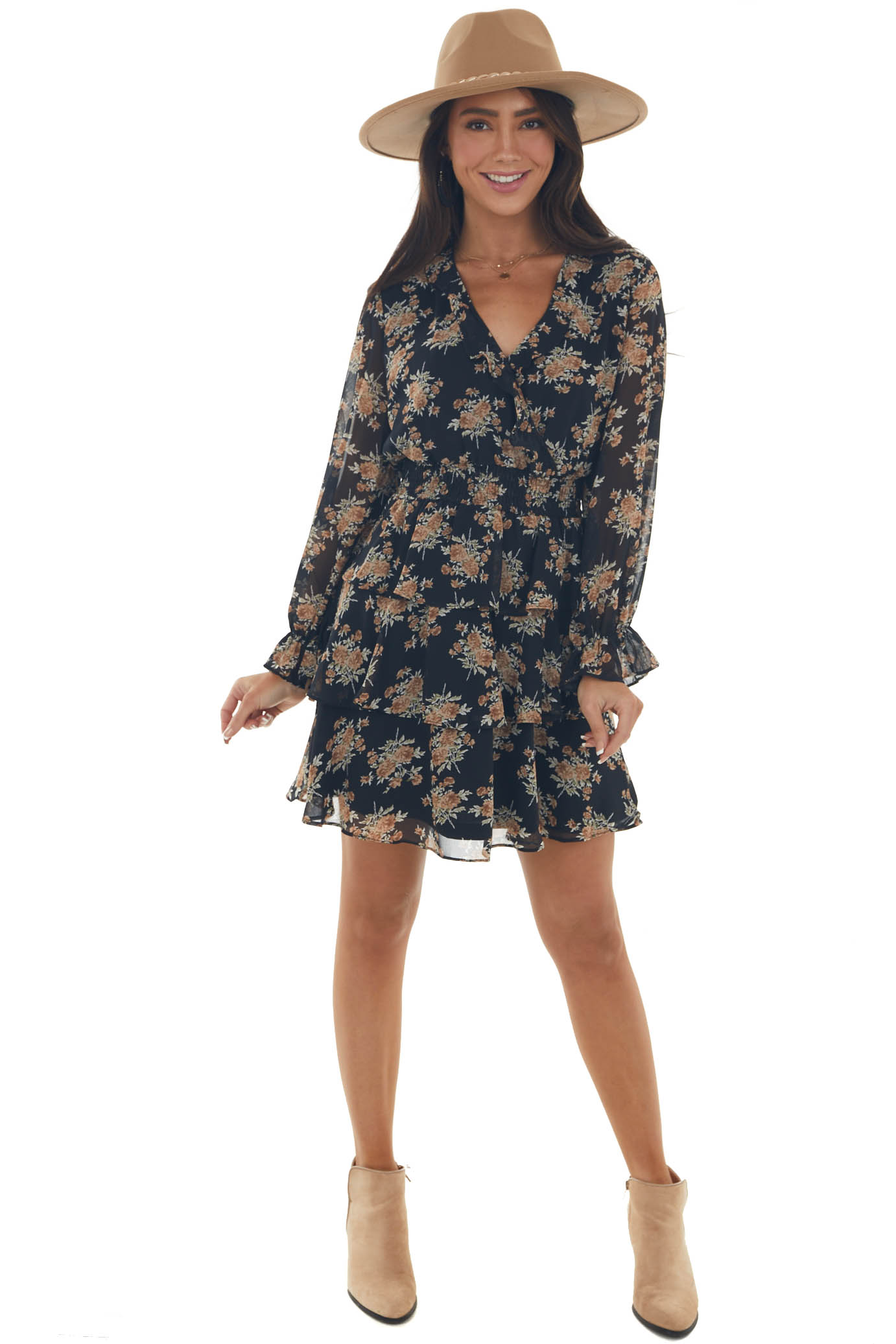 Black and Taupe Floral Surplice Ruffle Dress