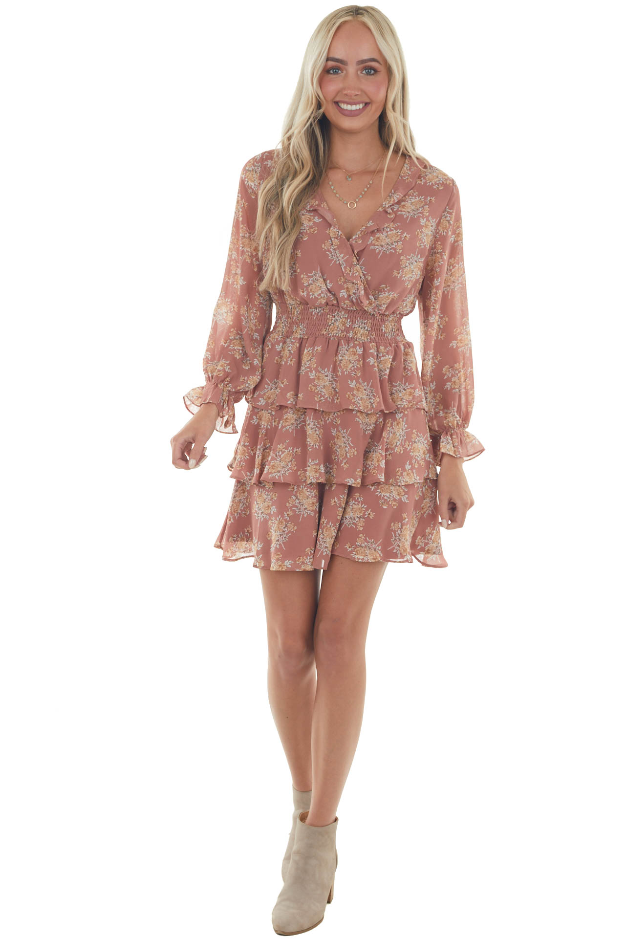 Dusty Rose and Taupe Floral Surplice Dress