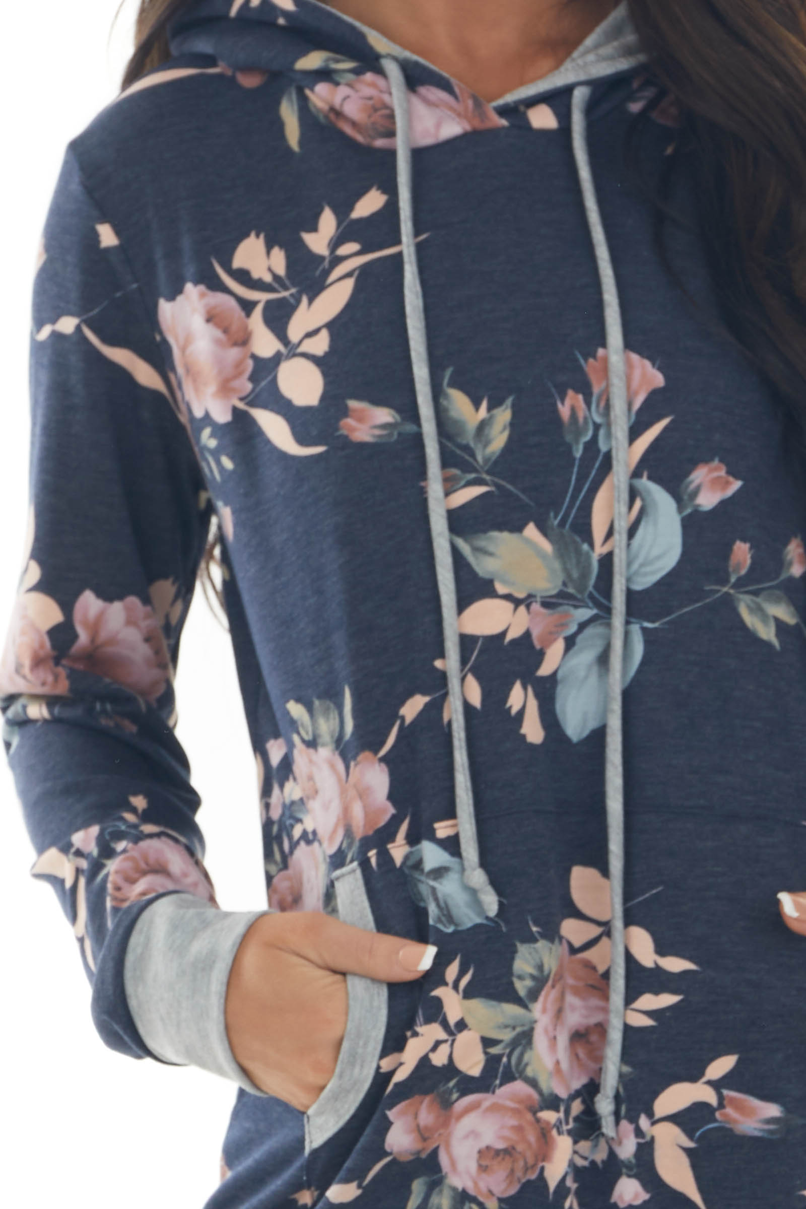 Navy Floral Print Drawstring Hoodie with Kangaroo Pouch