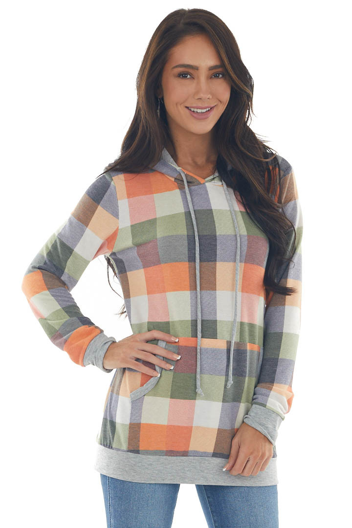 Pumpkin and Sage Plaid Hoodie with Front Pouch