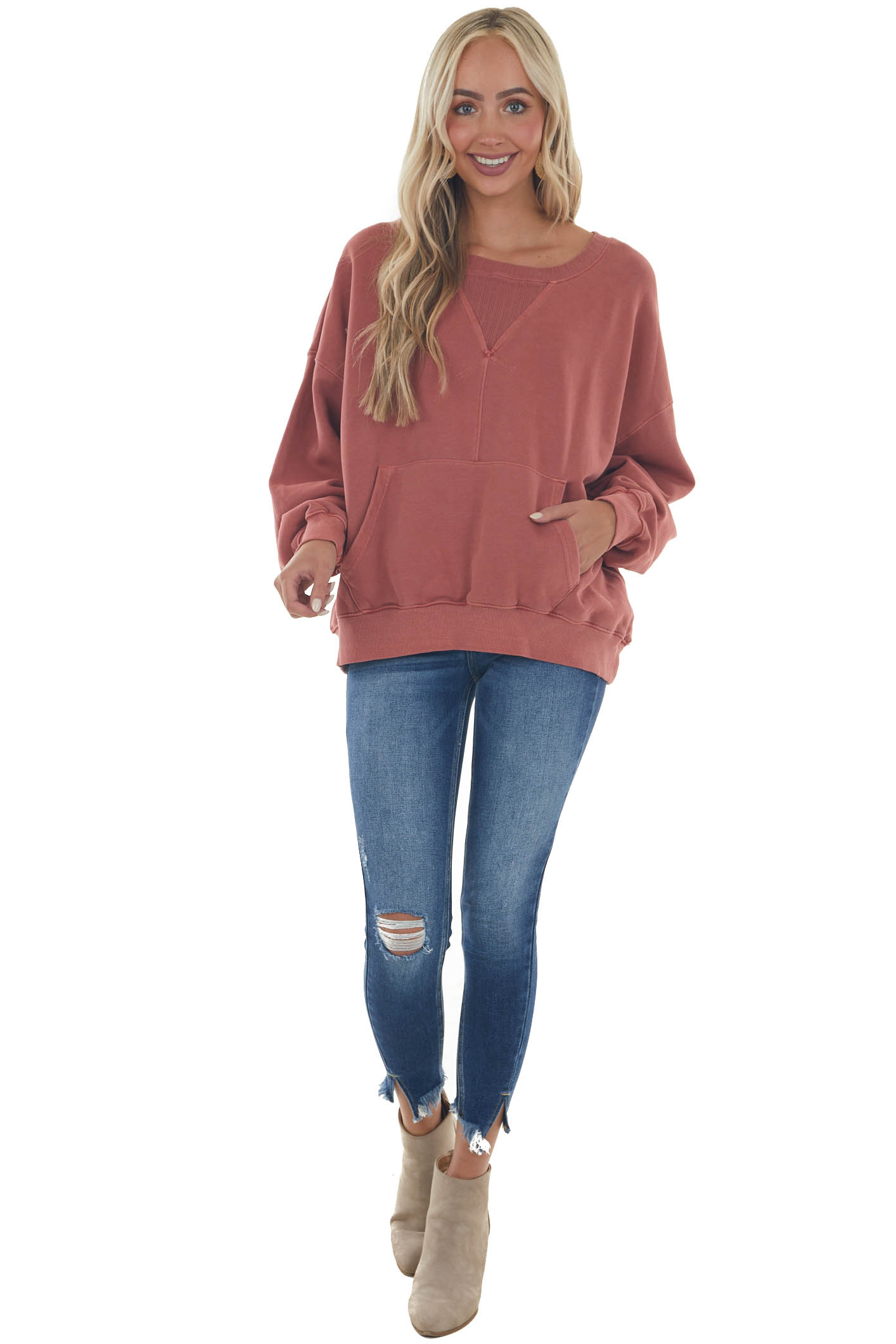 Marsala Ribbed Contrast Sweatshirt with Pouch