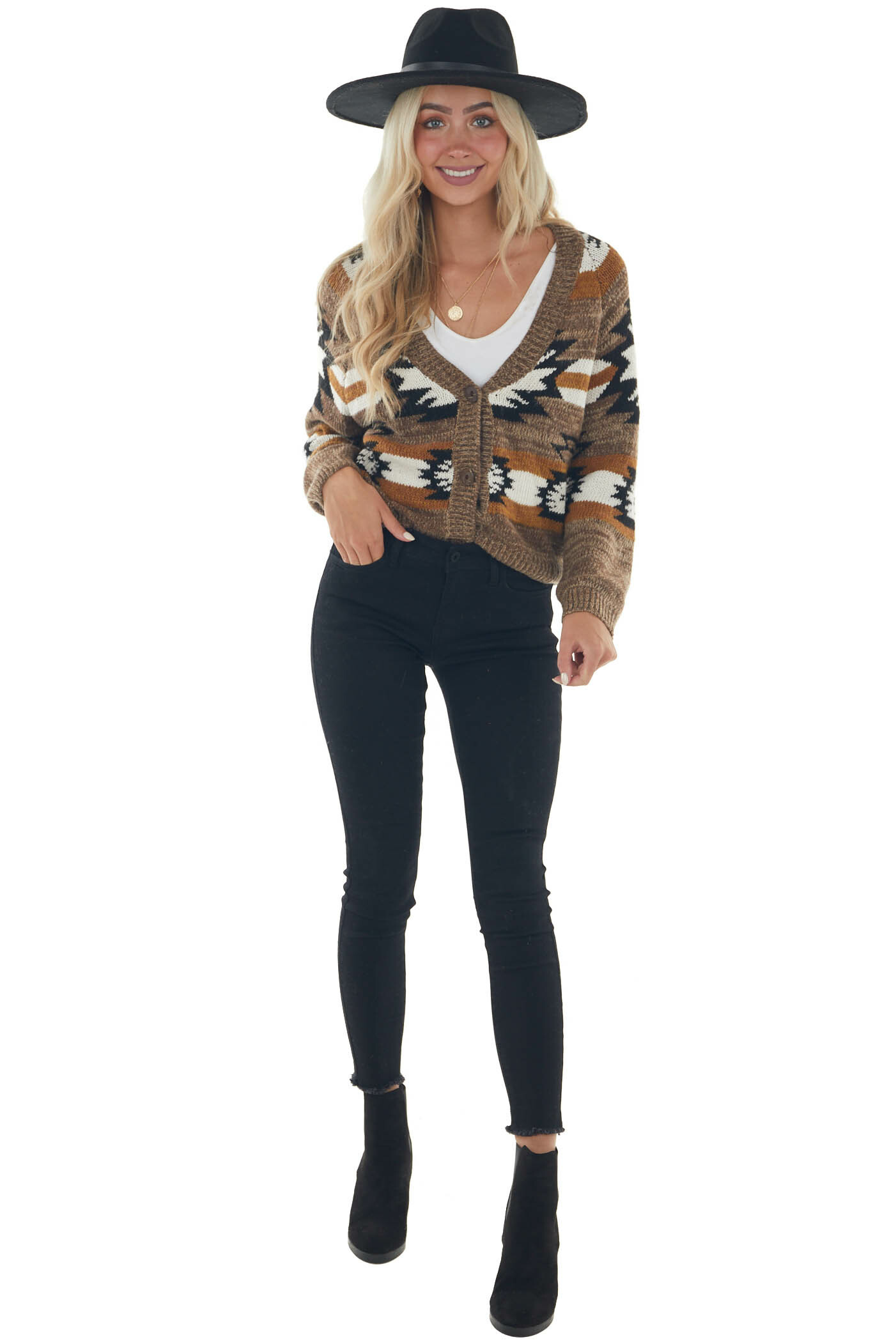 Coffee Aztec Print Button Up Cropped Cardigan